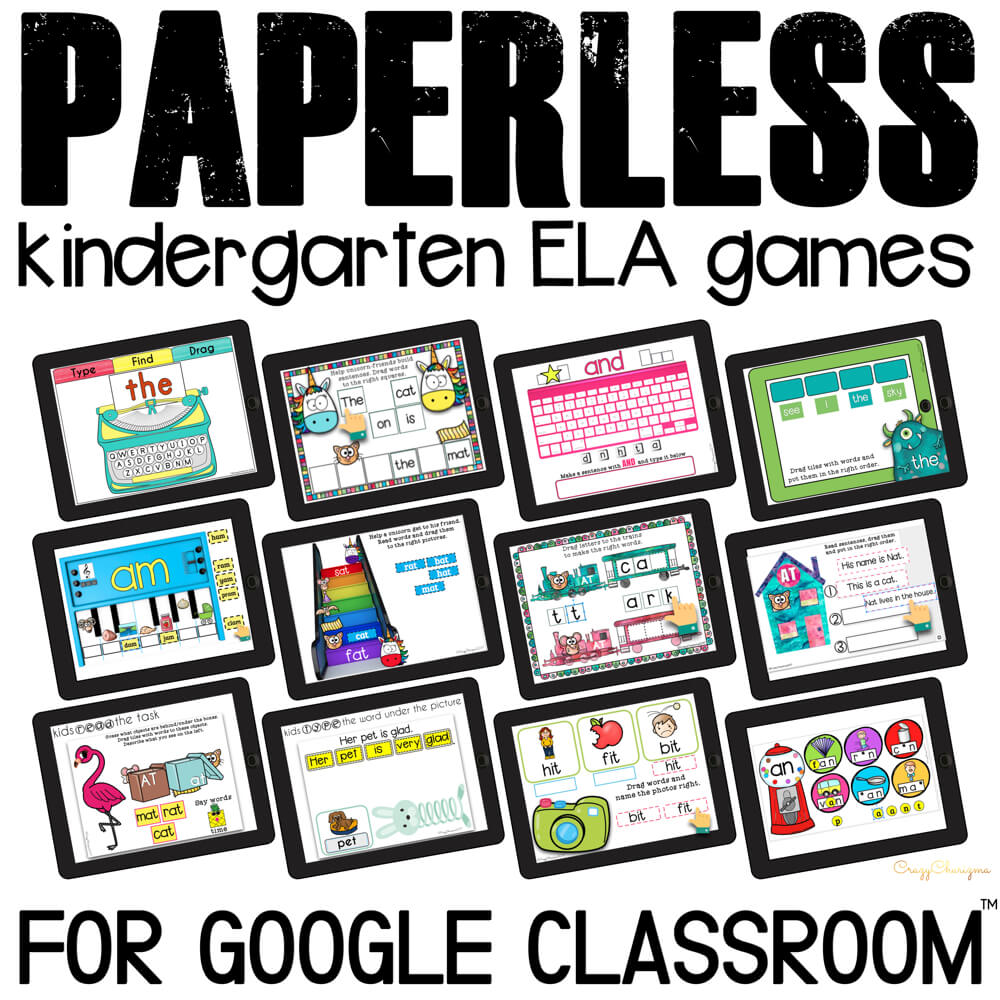 Google Classroom Activities for Kindergarten. Looking for Word Work activities? Need to practice sight words, word families and phonics? Use these reading activities for Google Classroom™. Perfect for guided reading groups, literacy centers and 1:1 work. #CrazyCharizma #GoogleClassroom #GoogleClassroomKindergarten #HandsOnActivitiesForKids #PaperlessClassroomElementary #SightWordsActivities