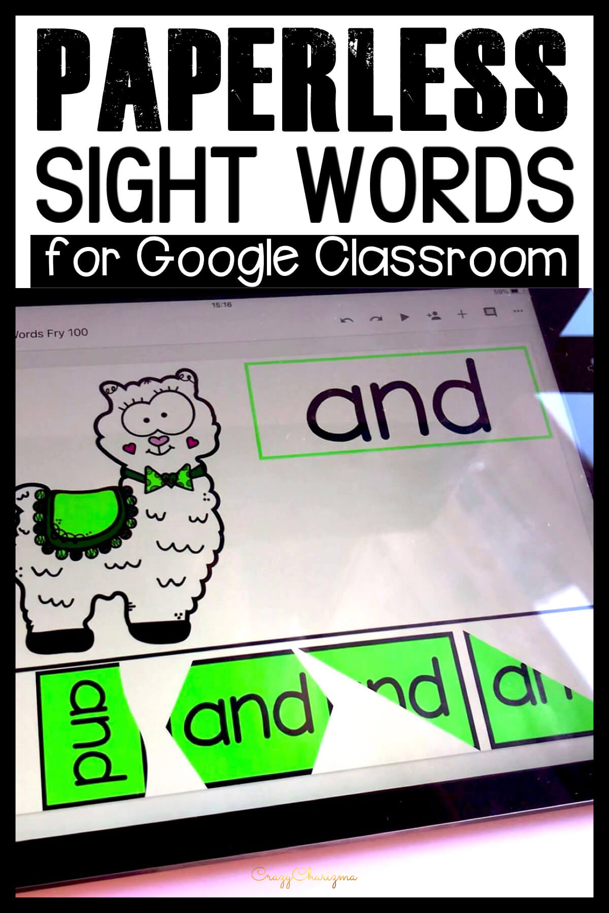 Google Classroom Activities for Kindergarten | Sight Word Games: Do your kids love llamas? Let these cuties teach and practice sight words with paperless activities. Make it fun and review high frequency words with Google Classroom!