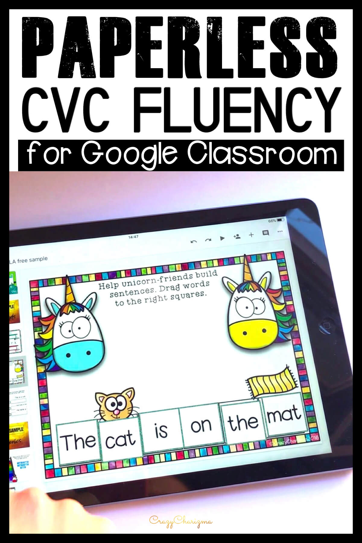 Google Classroom Activities for Kindergarten | CVC sentence fluency: Want to engage kids with CVC word sentences? Try activities for Google Classroom in kindergarten. With images as visual help, students will build sentences and read them aloud in an engaging way!