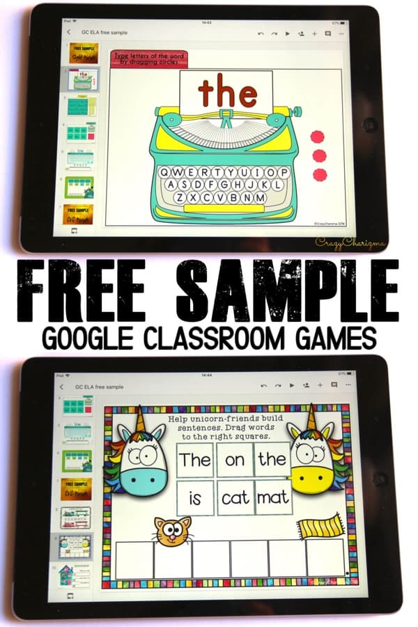 Google Classroom Games in Primary Grades | Free Activities to Try. Want to try Google Classroom in kindergarten or primary grades? Need to practice sight words and phonics? Download a free sample of ELA Games and Centers. Try interactive games on iPads, Chromebooks, tablets, laptops or the smart board! #crazycharizma #googleclassroom #googleclassroomkindergarten