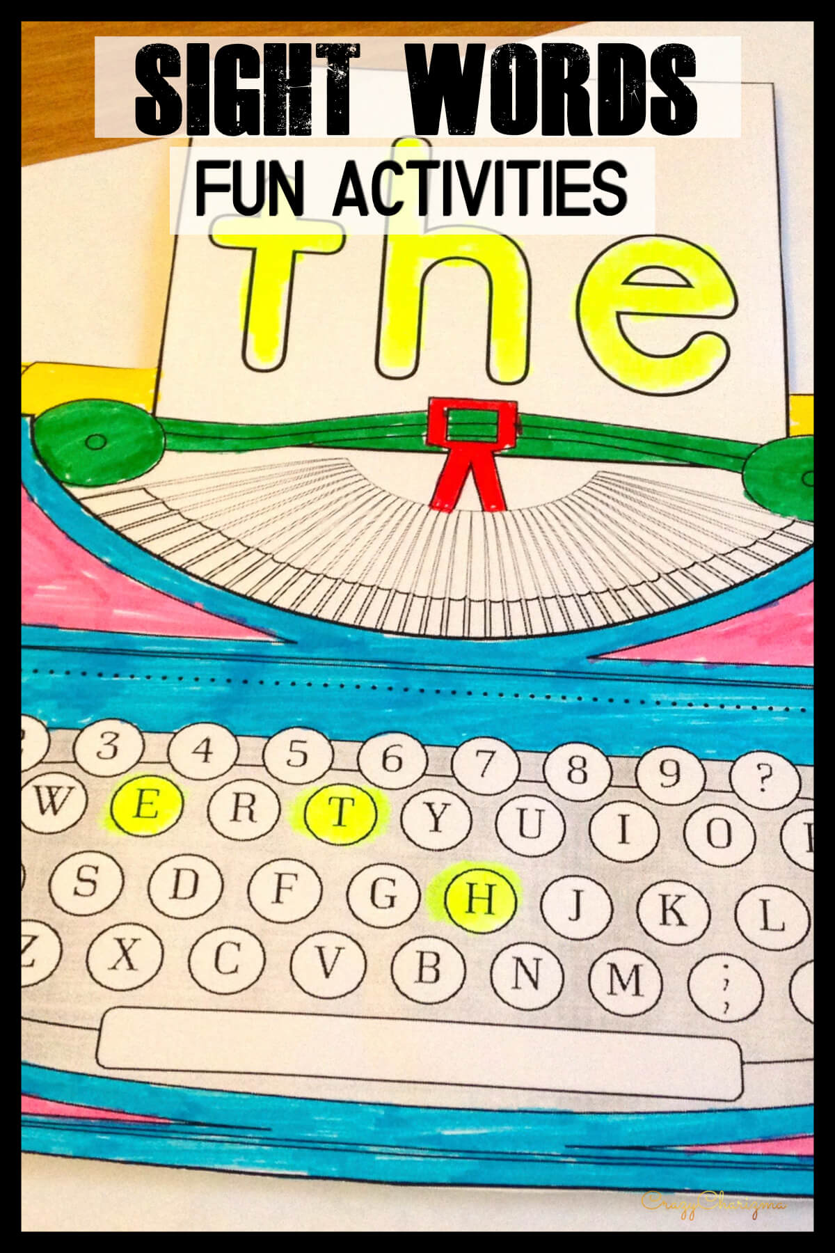Need hands-on and fun sight words activities? Grab the packet and use as an Interactive Notebook (organize kids' materials like a portfolio show progress throughout the year). More ways to use: as Word Work Activities or No-prep literacy centers. #CrazyCharizma #HandsOnActivitiesForKids #SightWords #PhonicsActivities