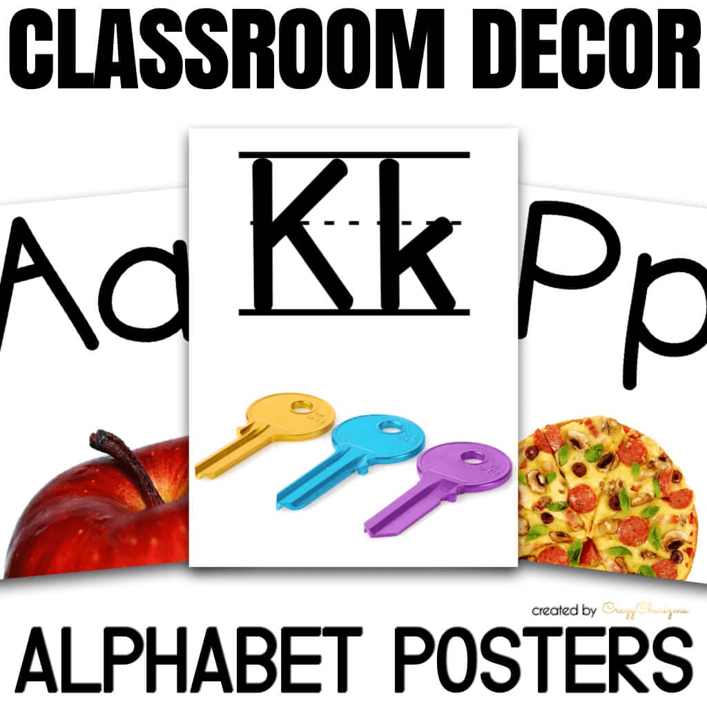Use these bright printable alphabet posters in your classroom or homeschool. Two versions (letters and letters on lined paper) are available. Use as decor for classroom or flashcards.
