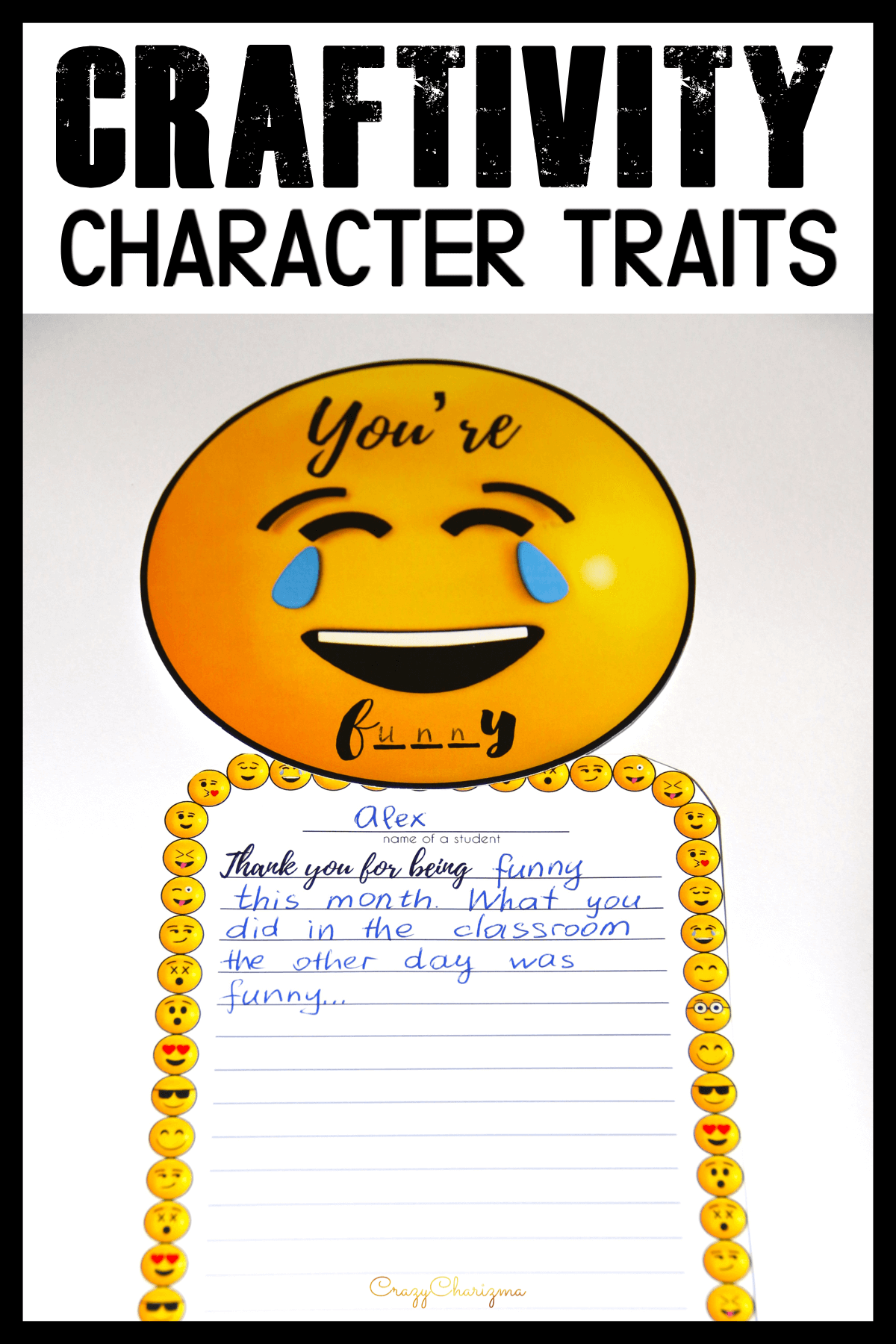 Teach positive character traits with these activities which include emojis craftivity. The main idea is to characterize classmates (compliments activity) and practice writing. Build kindness and rapport in your classroom!