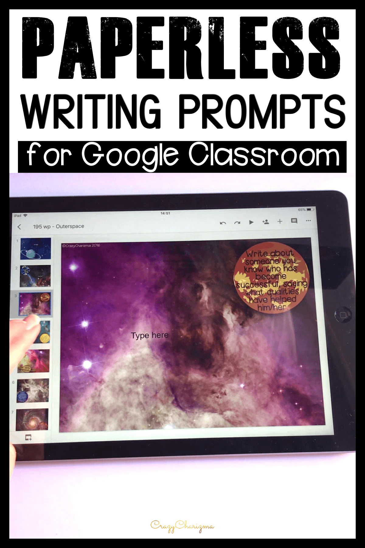 Engage students with writing starting today! Use technology (iPads, Chromebooks, laptops) for quick student writing practice! Working in Google Classroom and Google SLides, let the students start writing right away! Monitor their progress, answer questions and offer feedback as they write.