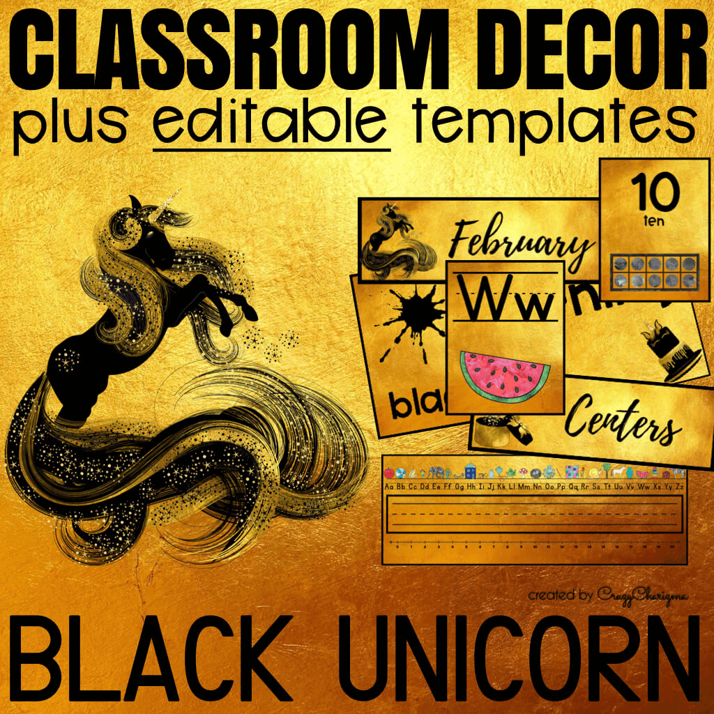 Decorate your classroom this year with this stylish BLACK UNICORN decor set. There are over 700+ pages of printables. Find inside EDITABLE TEMPLATES and ready to print classroom jobs labels, name tags, alphabet posters, numbers posters, centers signs, table signs, hall passes, schedule, calendar elements and much more.
