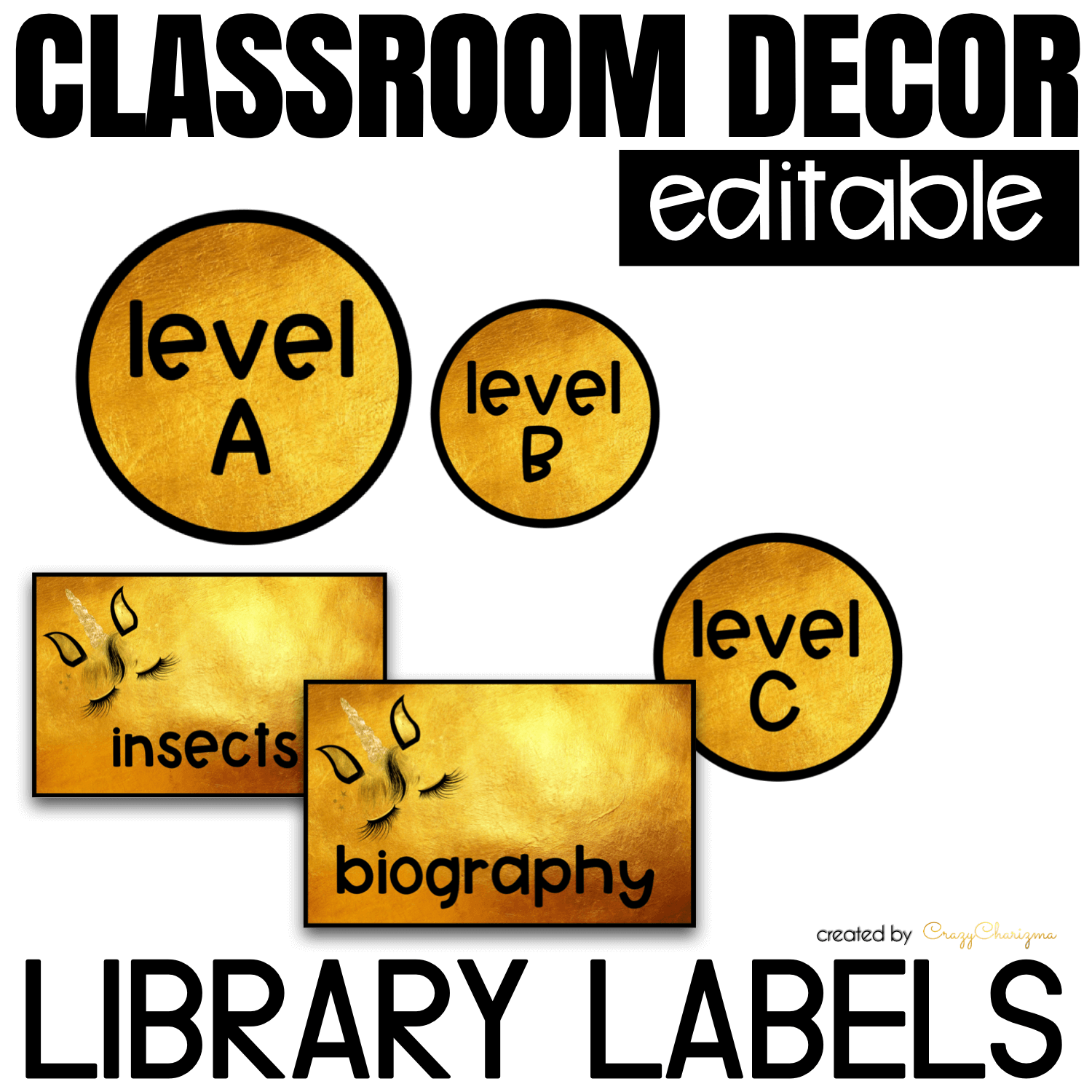 Looking for bright and clear EDITABLE library labels? Spice your classroom with this visually appealing classroom decor!
