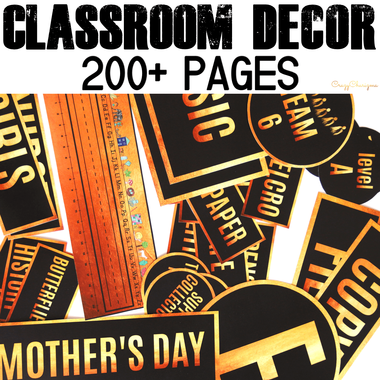 Looking for stylish decor? Love black and gold? This huge decor set is what you need and will love! There are over 200+ pages of printables. Find inside classroom jobs labels, name tags, alphabet posters, numbers posters, centers signs, table signs, hall passes, schedule, calendar elements.