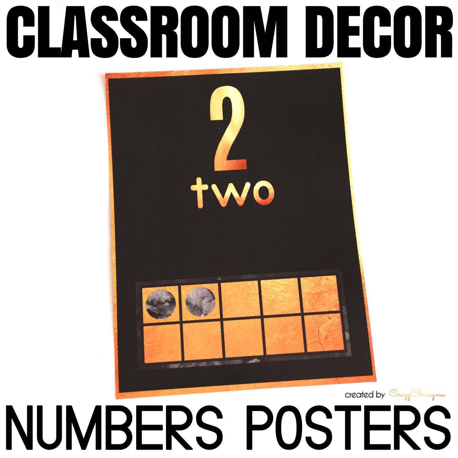 Decorate your classroom this year with this stylish BLACK and GOLD decor set. Find inside vibrant and bright Number Posters.