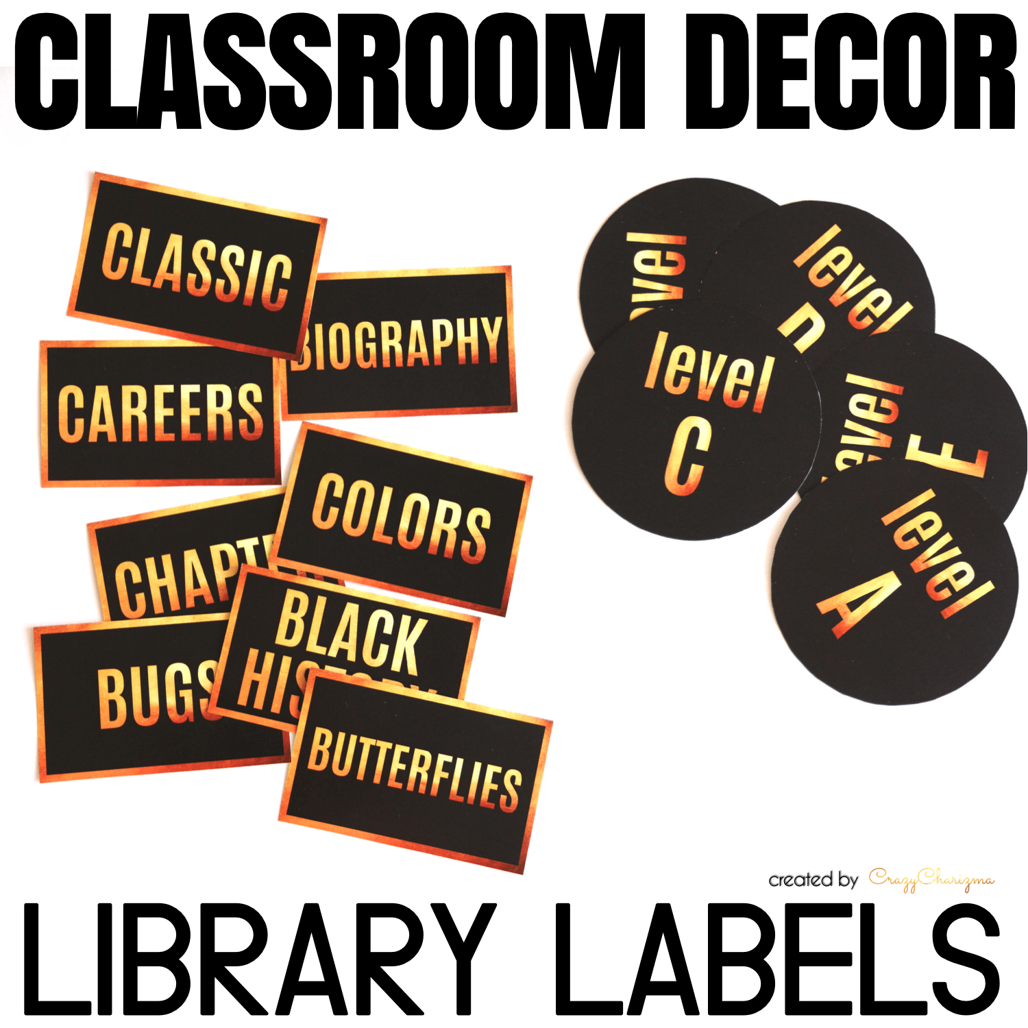 Decorate your classroom this year with this stylish BLACK and GOLD decor set. Find inside vibrant and bright Library Labels and Tags.
