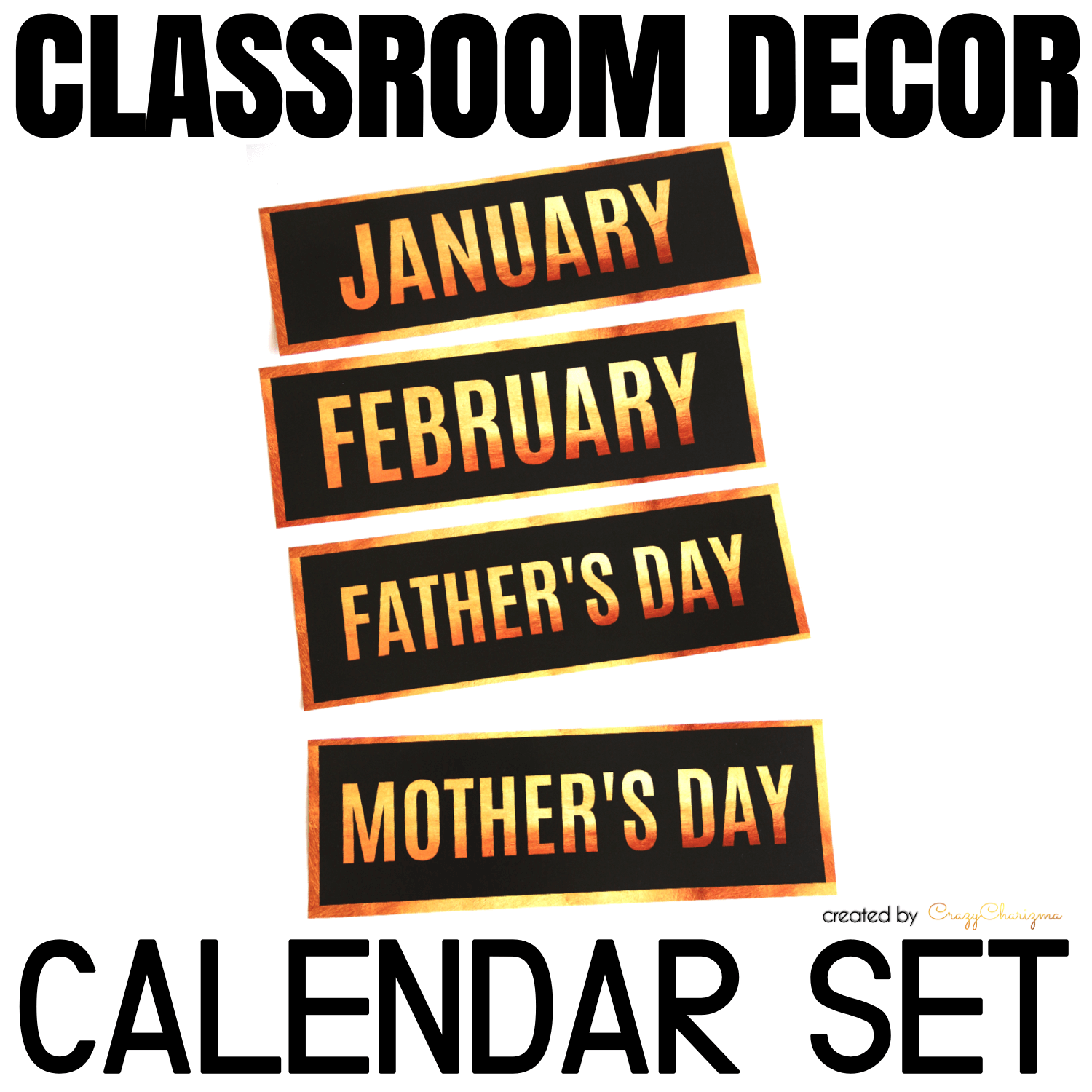 Decorate your classroom this year with this stylish BLACK and GOLD decor set. Find inside vibrant and bright Calendar Set: months, days of the week, numbers, holidays.