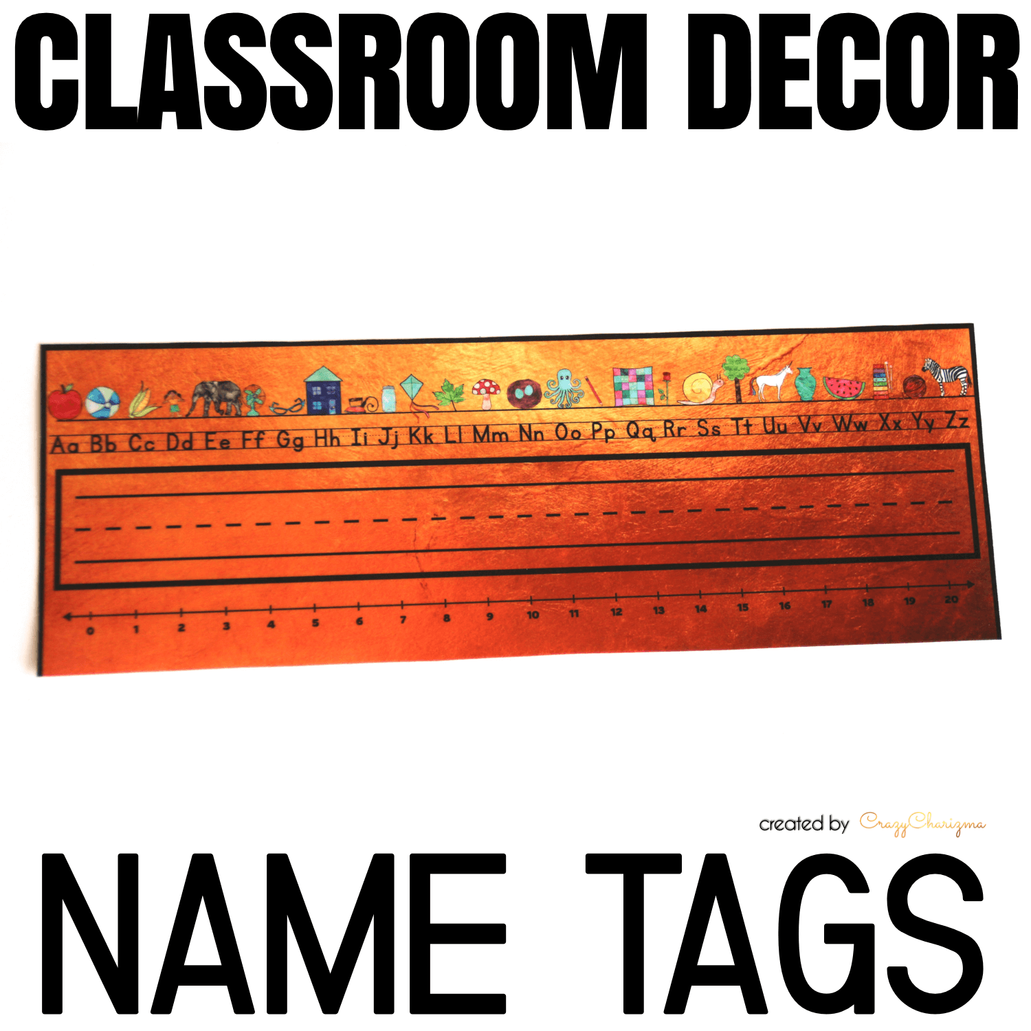 Decorate your classroom this year with this stylish BLACK and GOLD decor set. Find inside vibrant and bright Name Tags. Just print, laminate and then write students' names on it!
