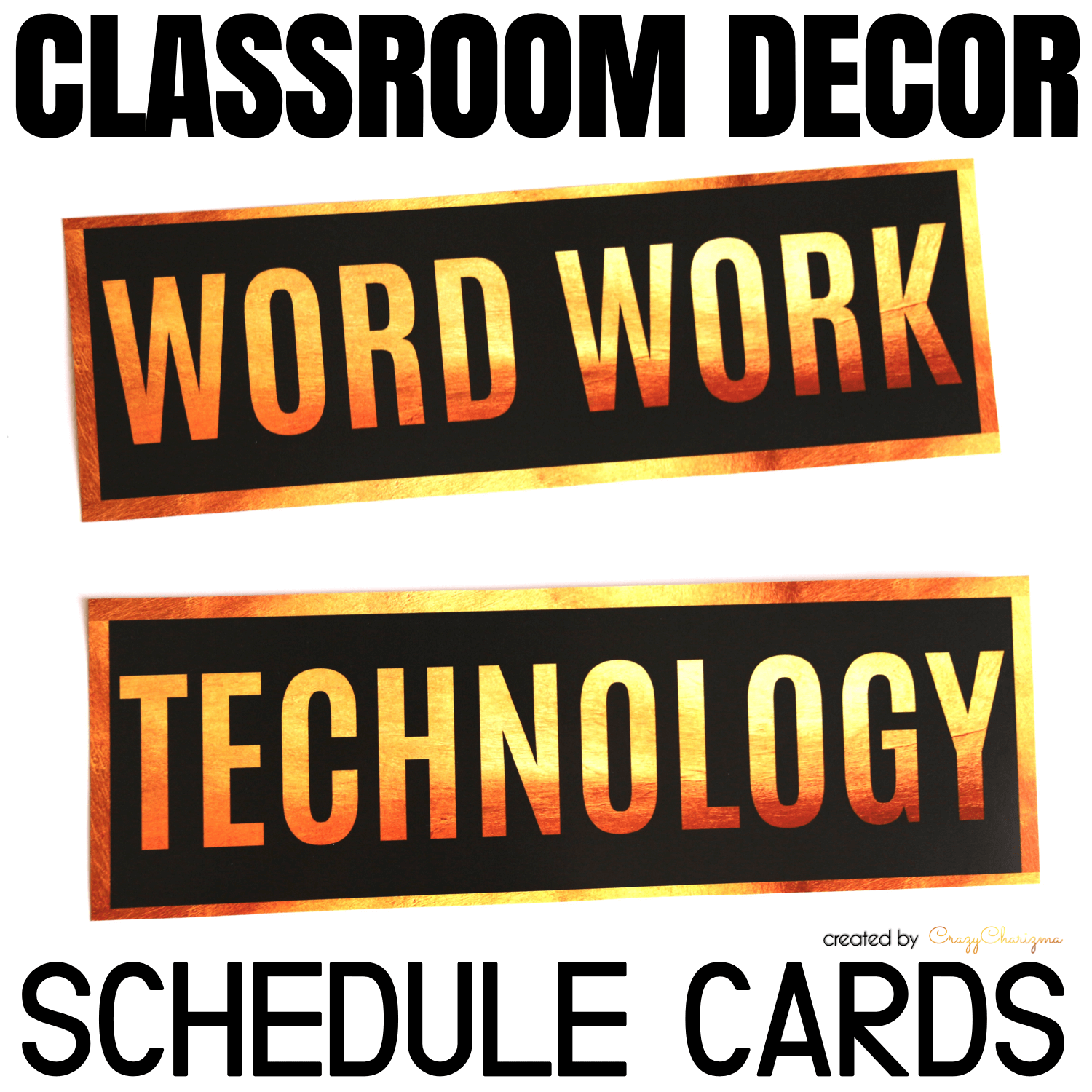 Decorate your classroom with this stylish BLACK and GOLD decor set. Find inside vibrant and bright Schedule Cards.