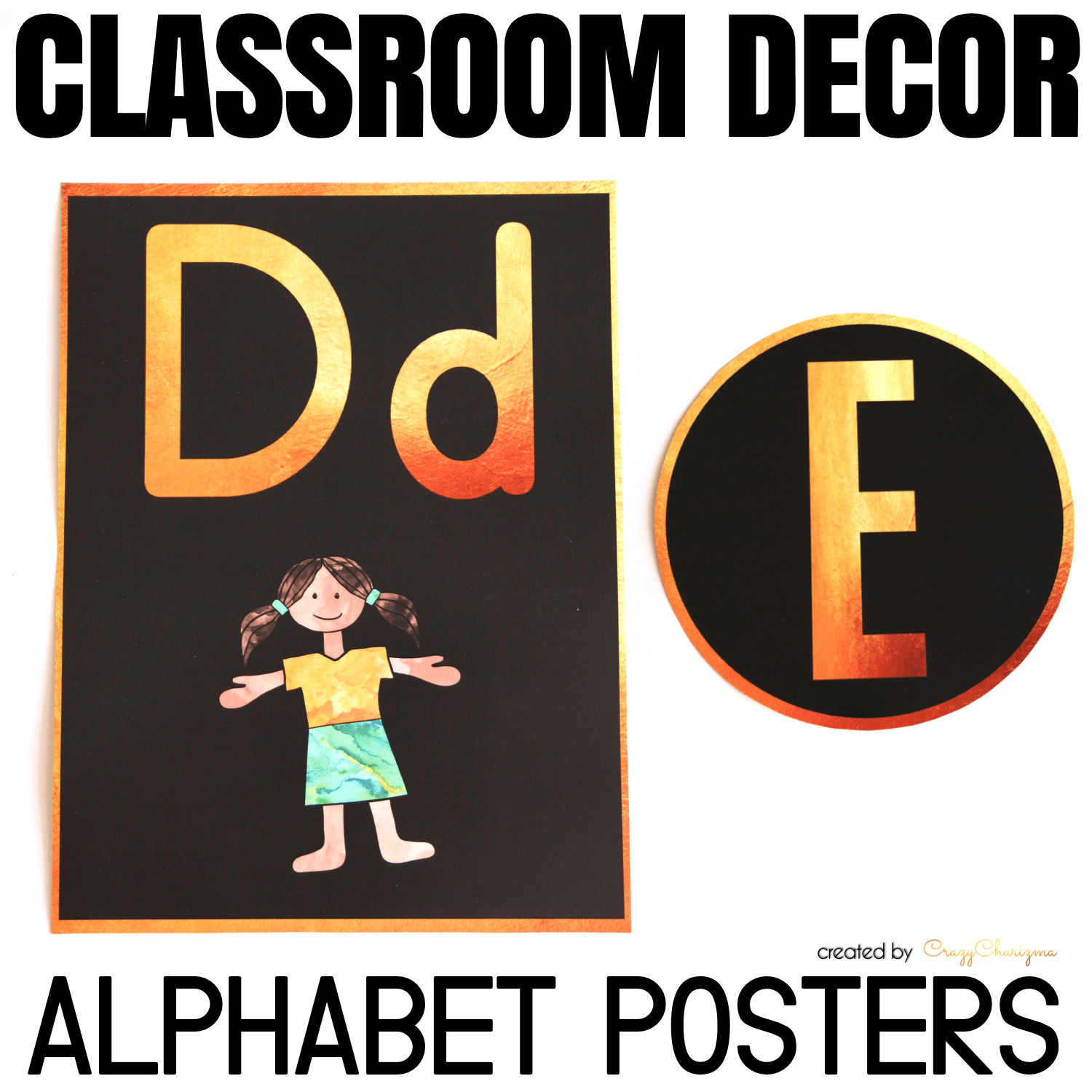 Decorate your classroom this year with this stylish BLACK and GOLD decor set. Find inside vibrant and bright Alphabet Posters and Letters.