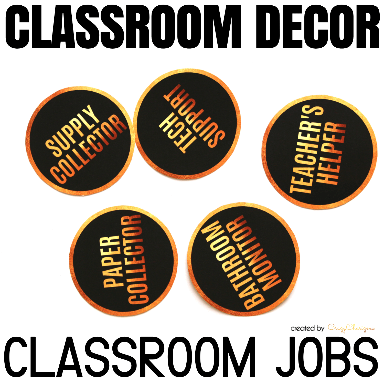 Decorate your classroom this year with this stylish BLACK and GOLD decor set. Find inside vibrant and bright Classroom Jobs cards.