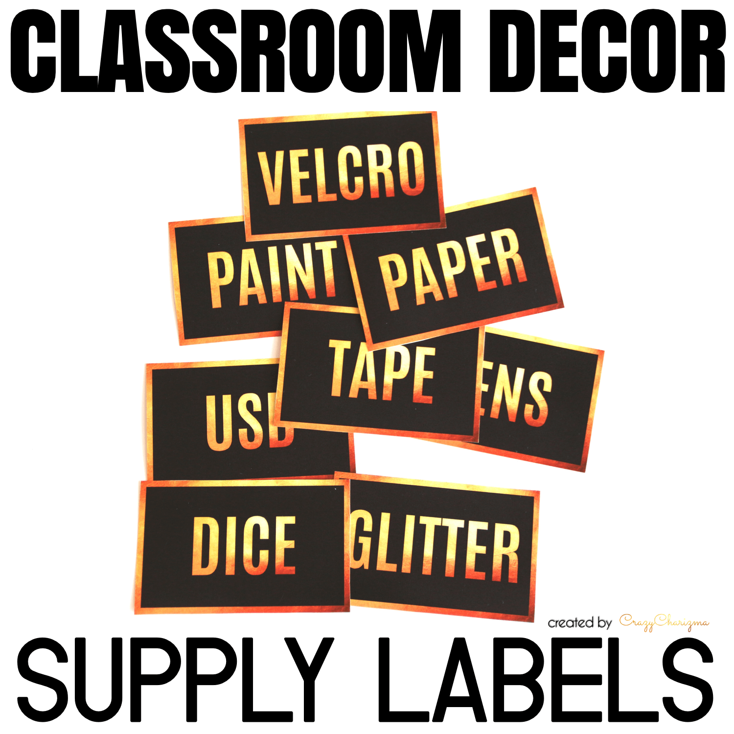 Decorate your classroom with this stylish BLACK and GOLD decor set. Find inside vibrant and bright Supply Labels.