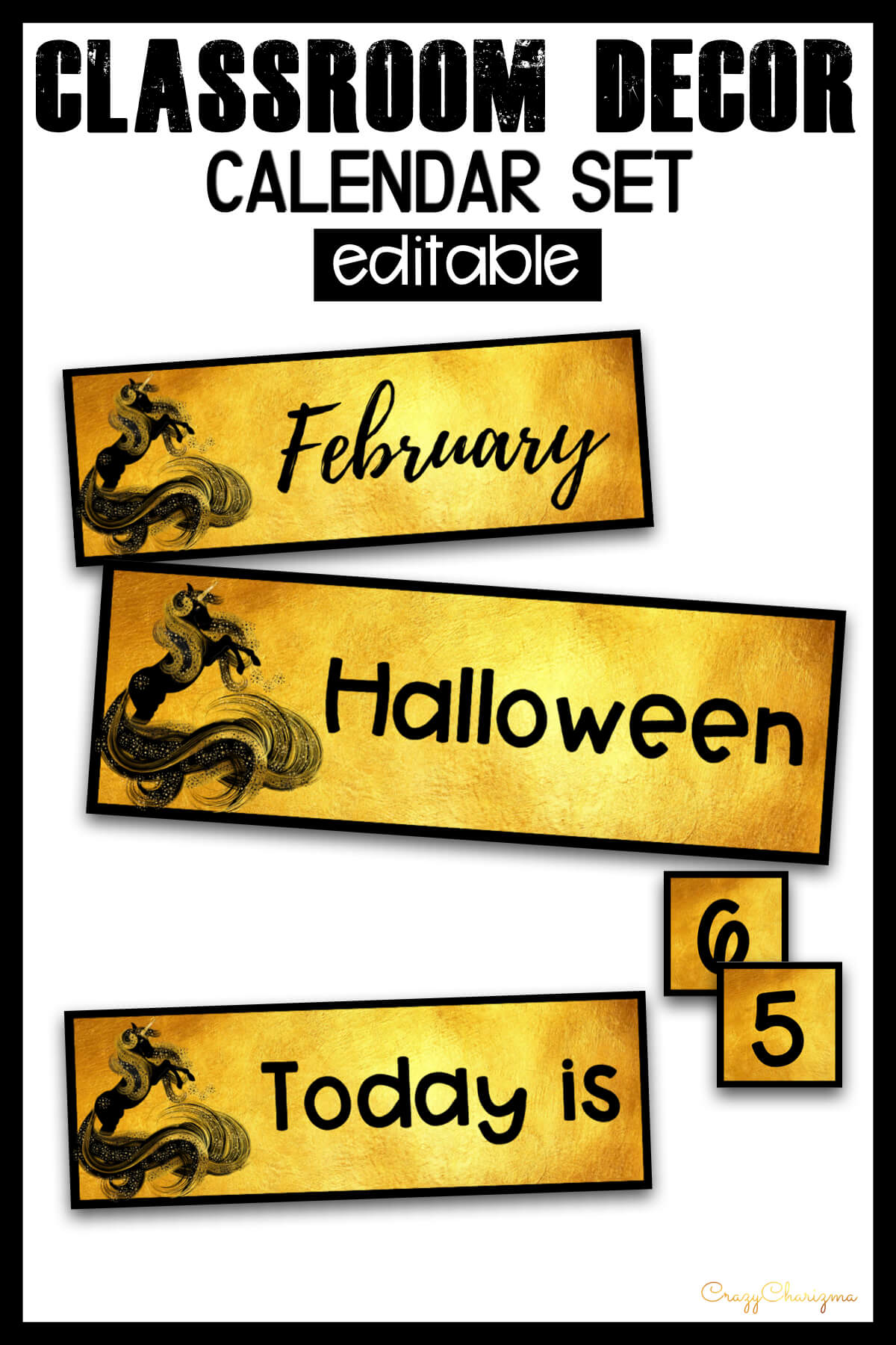 Looking for bright and clear EDITABLE calendar set? Spice your classroom with this visually appealing classroom decor!