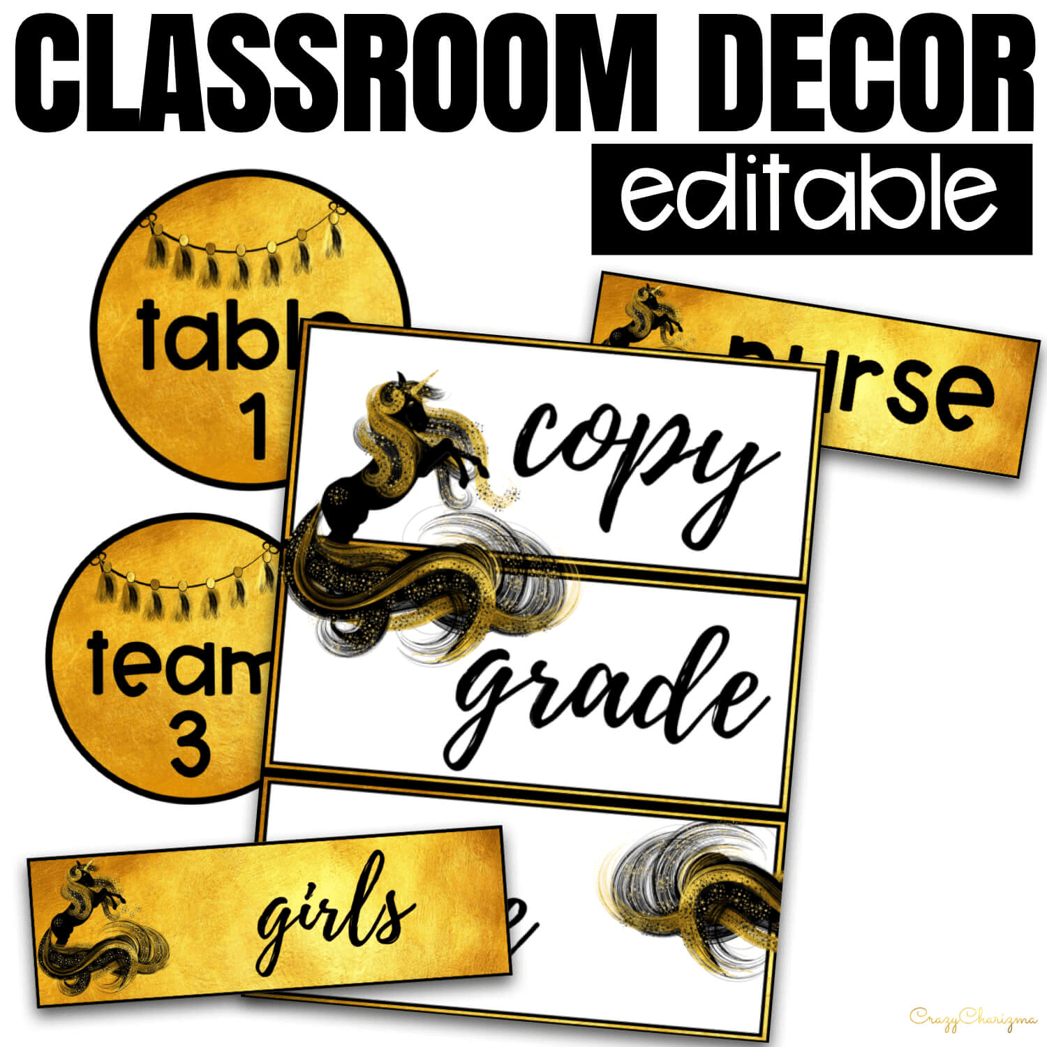Looking for bright and clear classroom decor? Spice your classroom with these beautiful EDITABLE hall passes, table tags, team signs and pencil tags.