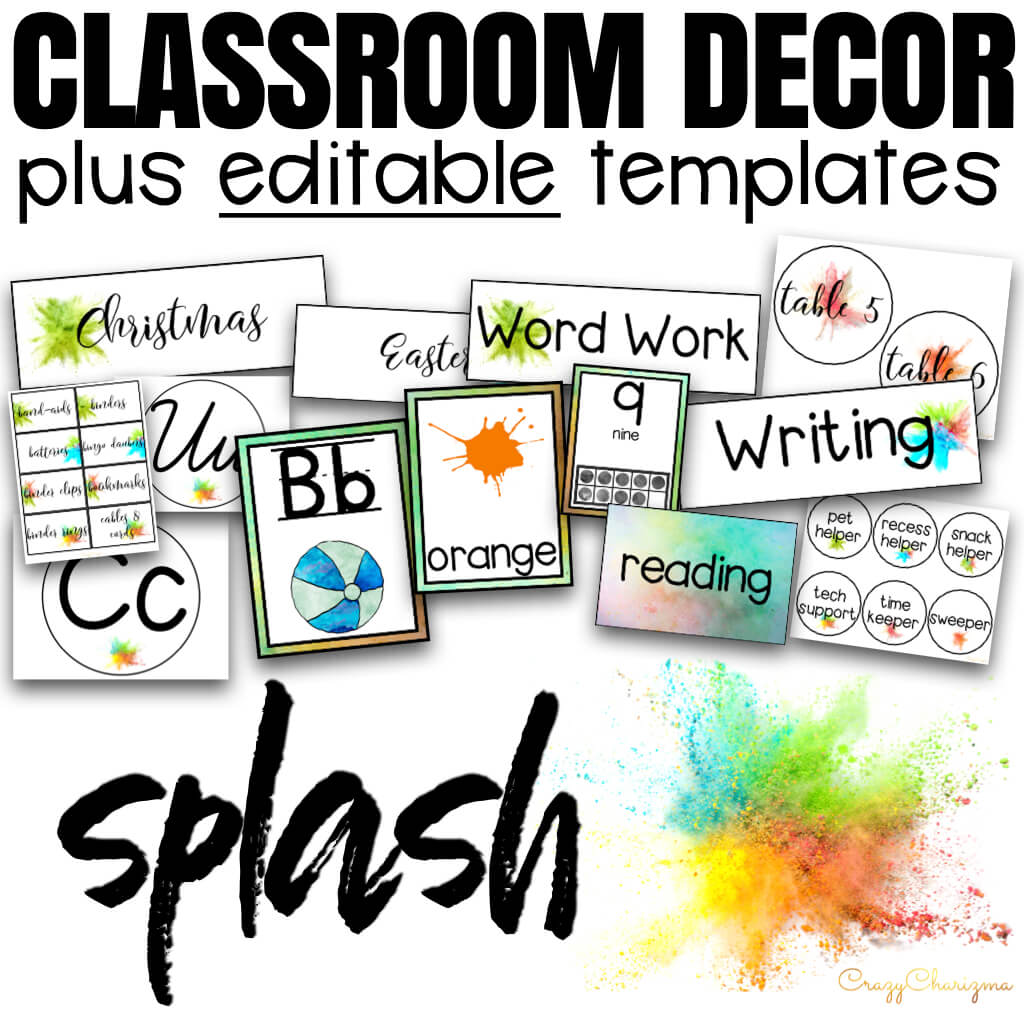 Decorate your classroom this year with this stylish SPLASH decor set. There are over 300+ pages of printables. Find inside classroom jobs labels, name tags, alphabet posters, numbers posters, centers signs, table signs, hall passes, schedule, calendar elements and various editable templates to make your own pieces.