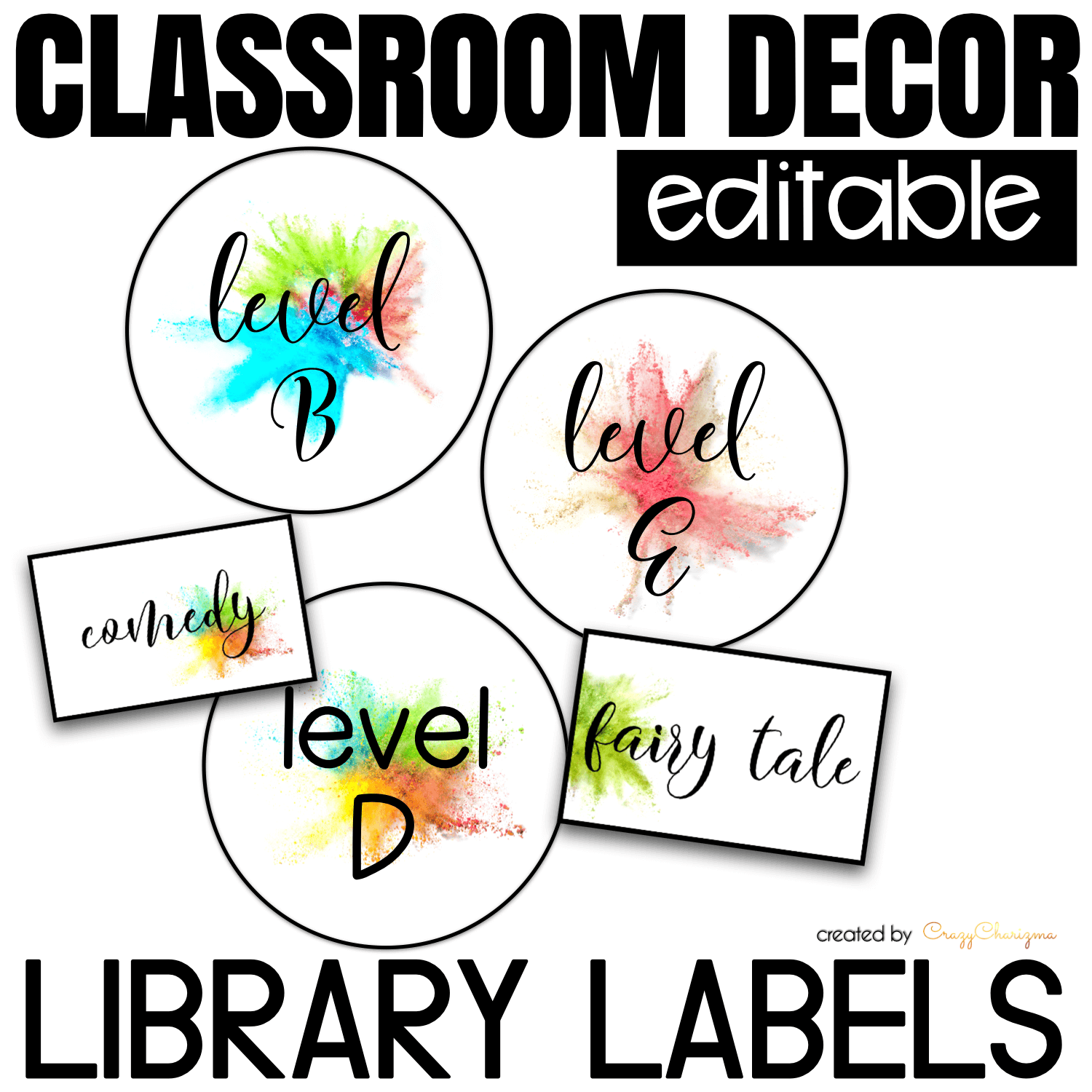 Looking for bright and clear EDITABLE library labels? Spice your classroom with this visually appealing SPLASH classroom decor!