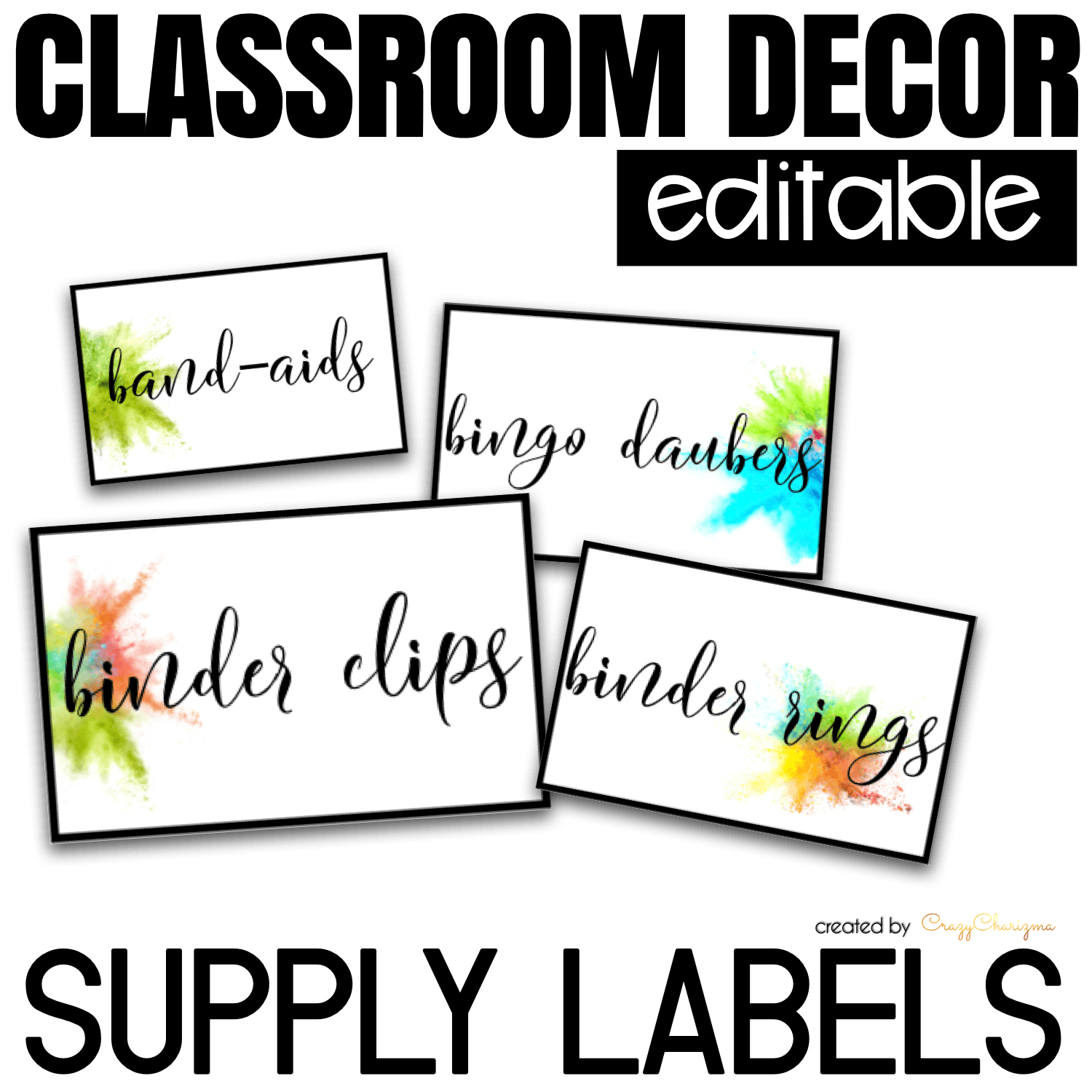 Looking for bright and clear EDITABLE supply labels? Spice your classroom with this visually appealing SPLASH classroom decor!