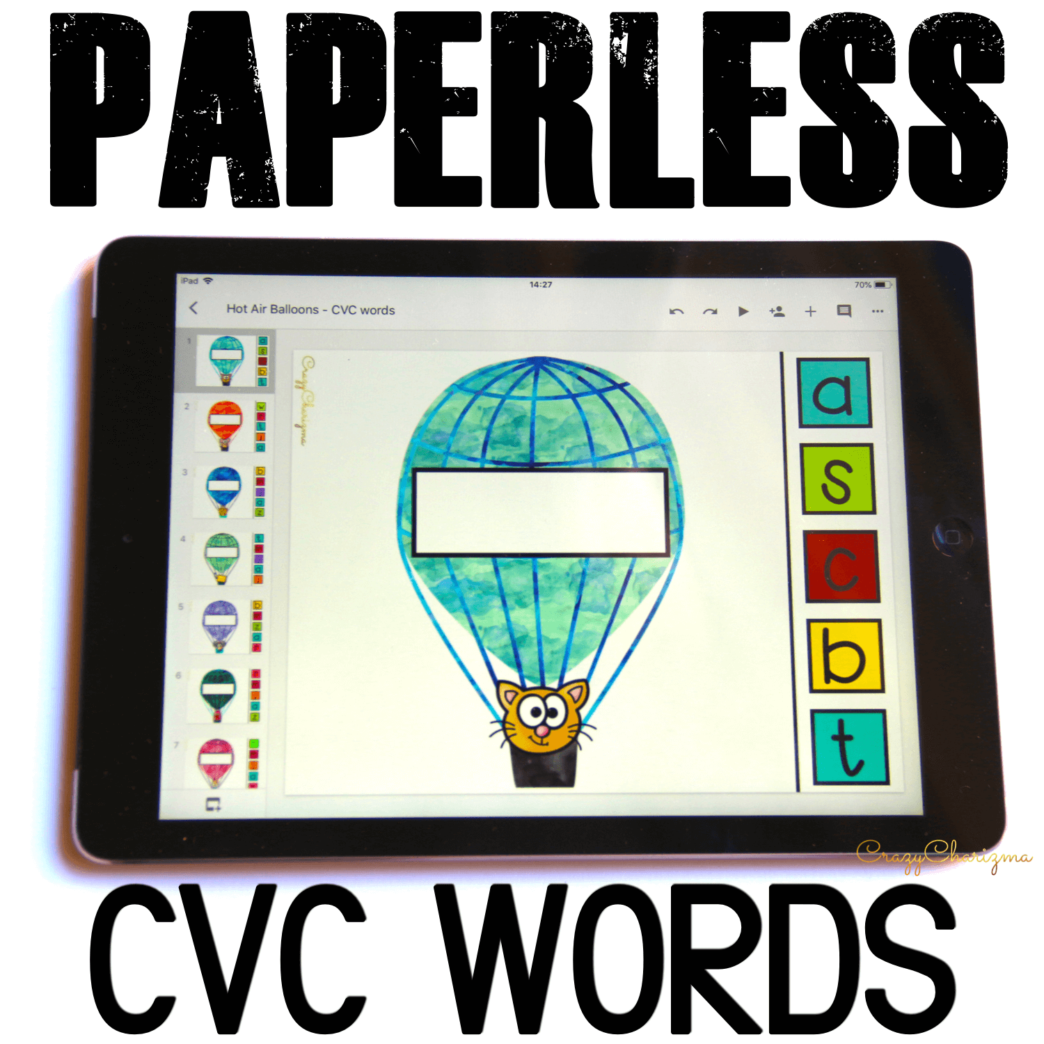 Google Classroom Activities for Kindergarten, CVC words. Need easy to use CVC word work? Grab paperless activities for Google Classroom™. Kids will love reading phonics with these hot air balloons! #CrazyCharizma #GoogleClassroom #GoogleClassroomKindergarten #HandsOnActivitiesForKids #PaperlessClassroomElementary #PhonicsActivities