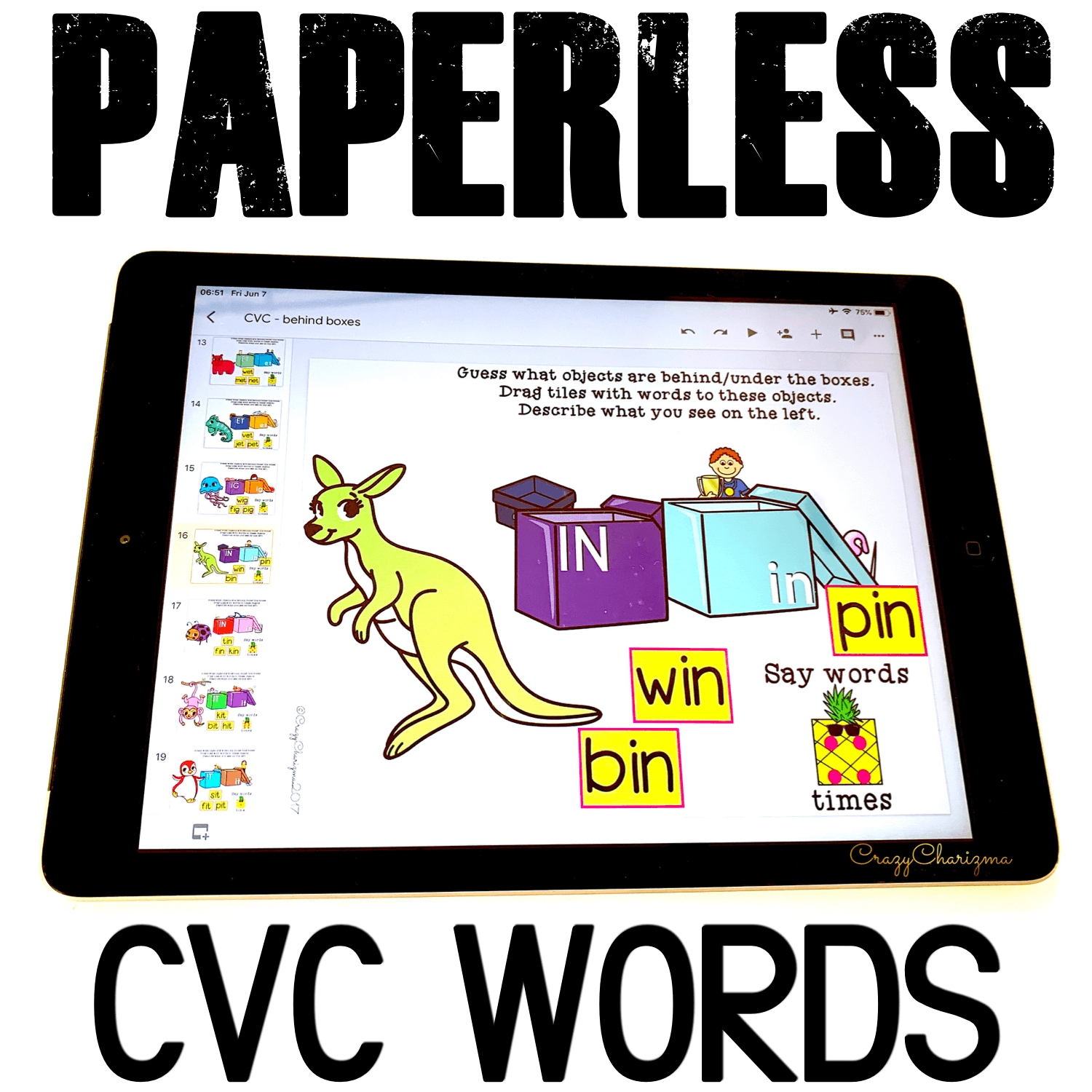 Google Classroom Activities for Kindergarten. CVC Words Games. Need fun and simple practice of CVC words? Grab these activities for Google Classroom. Perfect for literacy centers, guided reading groups, homework and 1:1 work. #CrazyCharizma #GoogleClassroom #GoogleClassroomKindergarten #HandsOnActivitiesForKids #PaperlessClassroomElementary #PhonicsGames