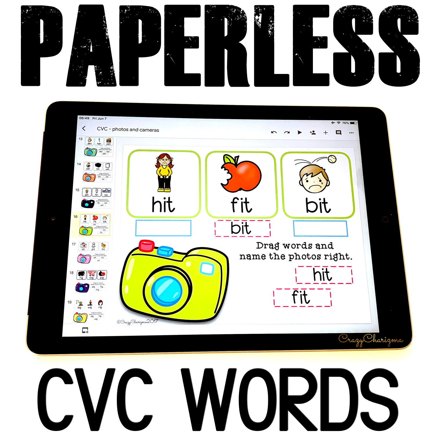 Looking for engaging CVC words kindergarten activities? Get these word work centers for Google Classroom. Perfect for guided reading groups, homework and 1:1 work. #CrazyCharizma #GoogleClassroom #GoogleClassroomKindergarten #HandsOnActivitiesForKids #PaperlessClassroomElementary #PhonicsGames