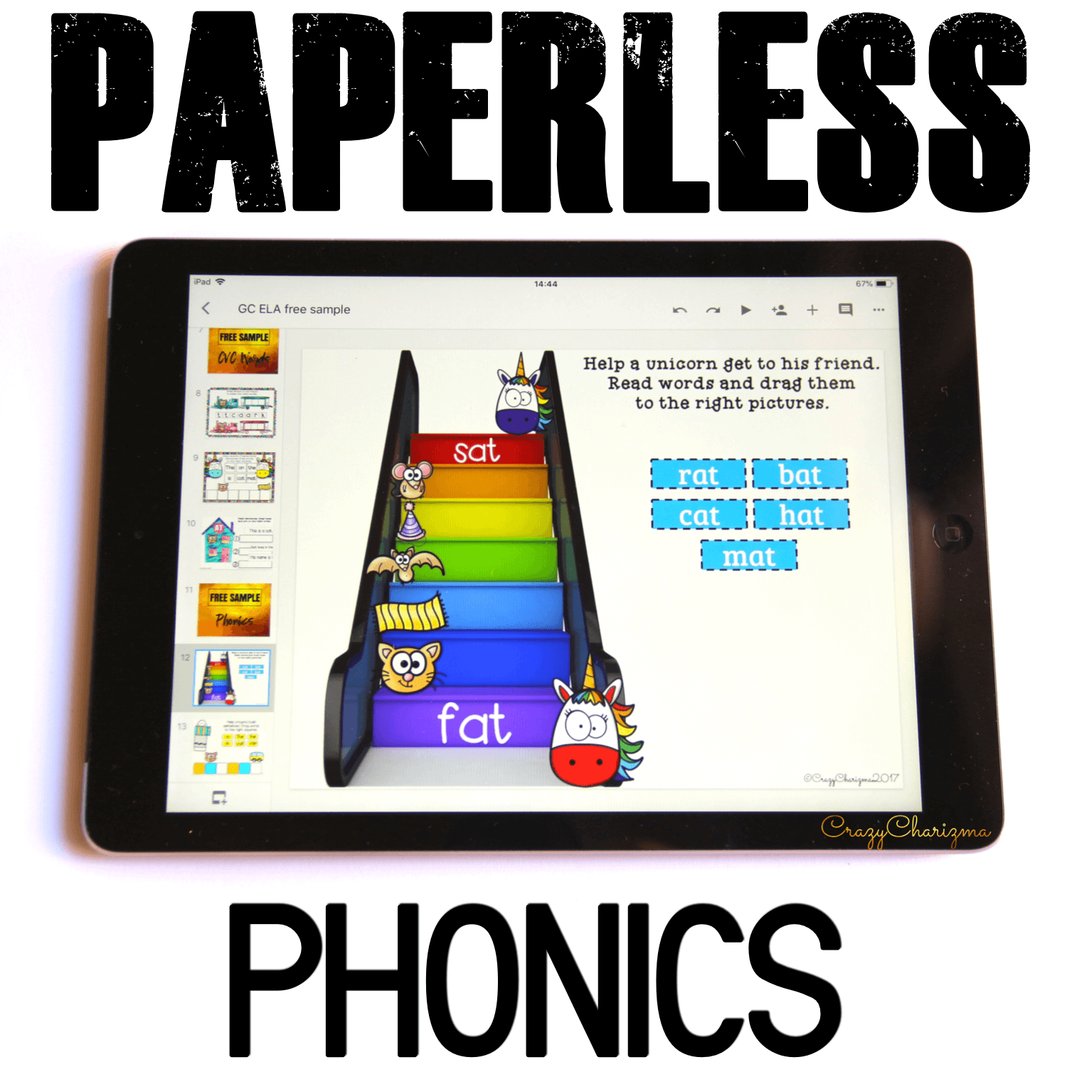 Google Classroom Activities for Kindergarten. Phonics Games. Need hands-on activities to practice CVC words? Grab these activities for Google Classroom. They are perfect for literacy centers, whole group, small group, homework, guided reading groups and 1:1 work. Get kids engaged with phonics. #CrazyCharizma #GoogleClassroom #GoogleClassroomKindergarten #HandsOnActivitiesForKids #PaperlessClassroomElementary #PhonicsGames