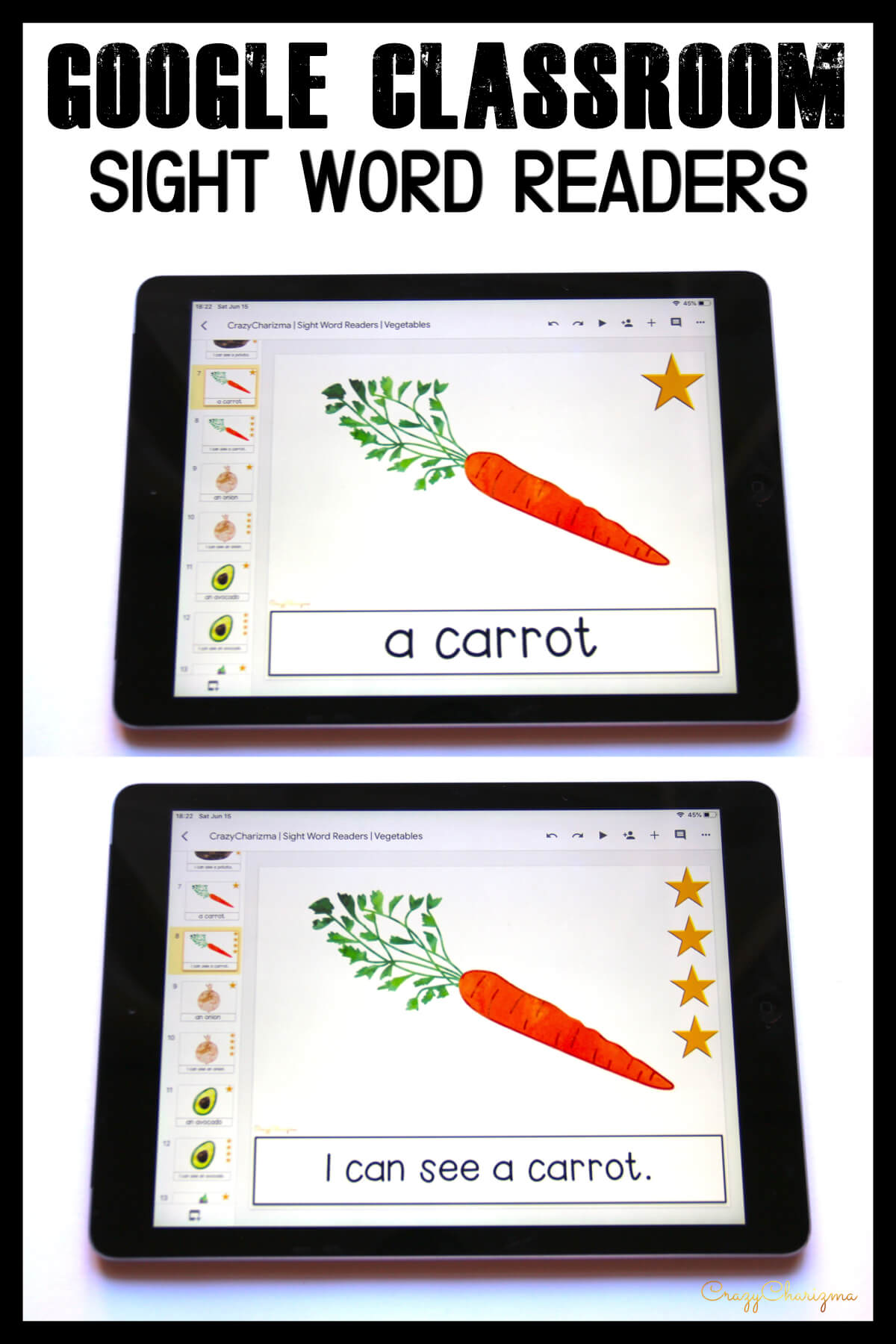 Looking for engaging sight word readers for kindergarten? Engage kids with sight words and vegetables. Use as paperless practice for Google Classroom or print and read!