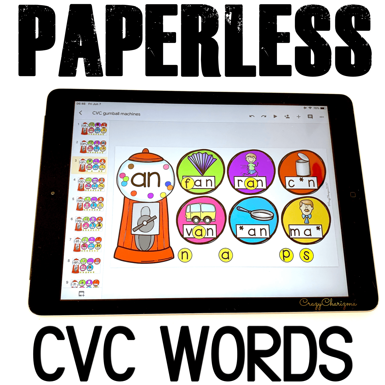 Google Classroom Activities for Kindergarten. CVC Words Games. Practice beginning, middle and ending sounds with CVC words activities. Check out digital word work games for your kids. Perfect for phonics centers, literacy centers, whole group, small group, and homework. #CrazyCharizma #GoogleClassroom #GoogleClassroomKindergarten #HandsOnActivitiesForKids #PaperlessClassroomElementary #SightWordActivities