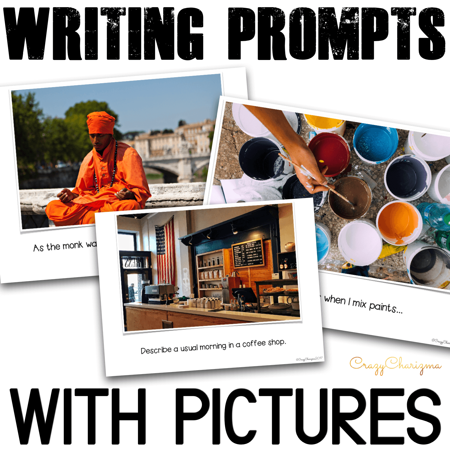 If you don't know what topic to use for writing, these 50 Writing Prompts will be of great help! Real photos tell stories. Engage your students with creative writing and let them make the stories meaningful!
