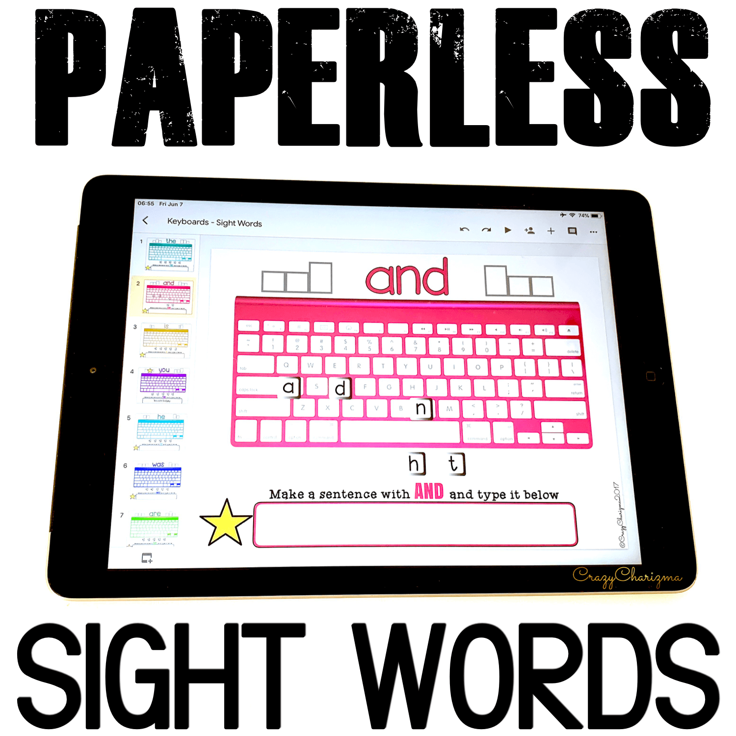 Google Classroom Activities for Kindergarten. Sight Words Games. Grab paperless resources to practice sight words in a fun way. Let kids get engaged with word work and play with high-frequency words. They will love typing words, learn the keyboard, and build sentences. #CrazyCharizma #GoogleClassroom #GoogleClassroomKindergarten #HandsOnActivitiesForKids #PaperlessClassroomElementary #SightWordsActivities