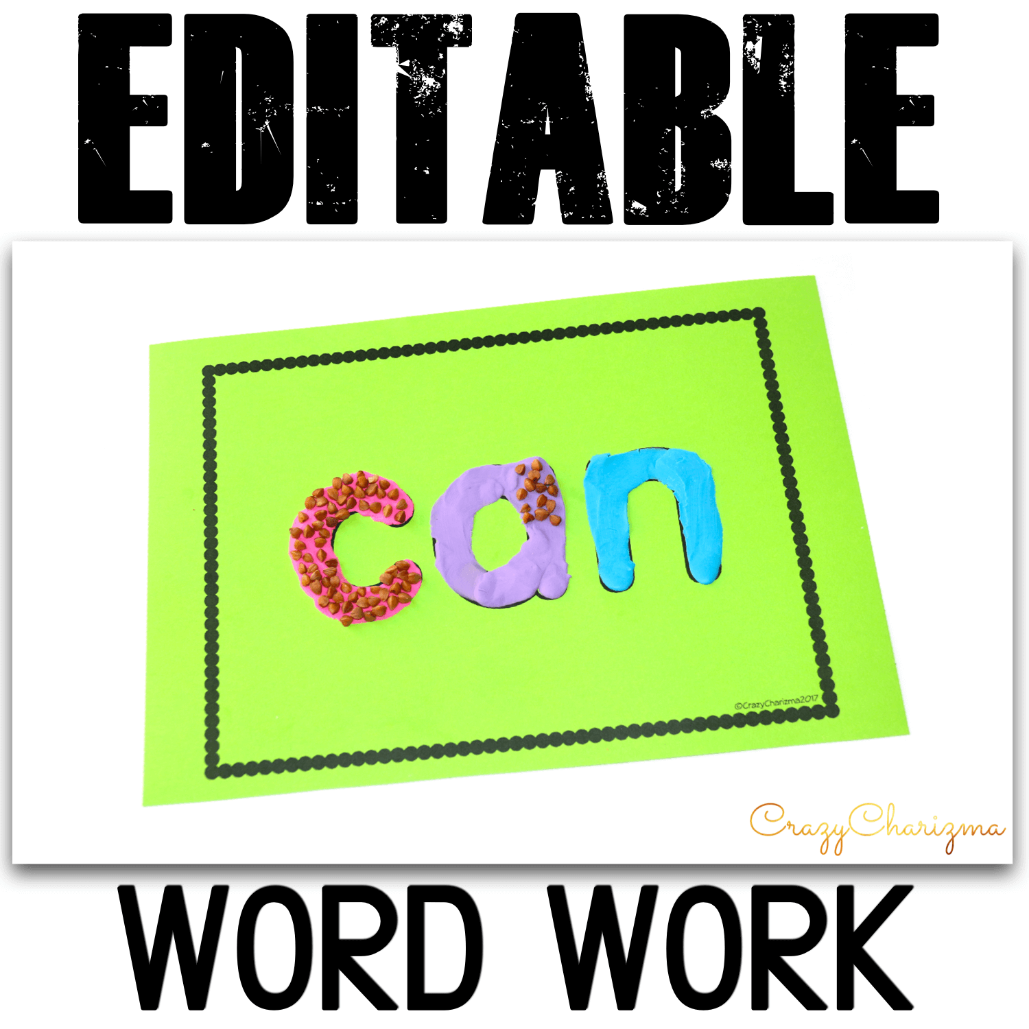 Need hands on activities to practice any words? Use playdough mats and let kids read and use different manipulatives to brighten the words up. The EDITABLE VERSION is available. Create your own playdough mats!