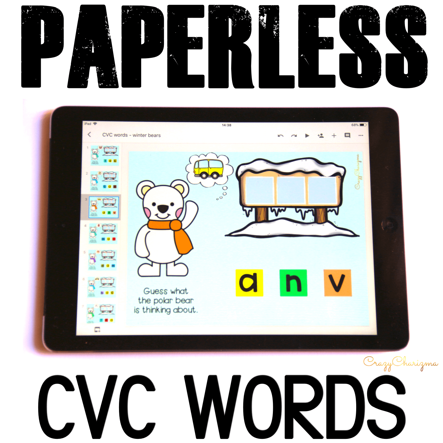 Google Classroom Activities for Kindergarten, CVC words. Looking for engaging winter CVC word work? Try these seasonal activities for Google Classroom™. Kids will love to help polar bears to read! #CrazyCharizma #GoogleClassroom #GoogleClassroomKindergarten #HandsOnActivitiesForKids #PaperlessClassroomElementary #PhonicsActivities