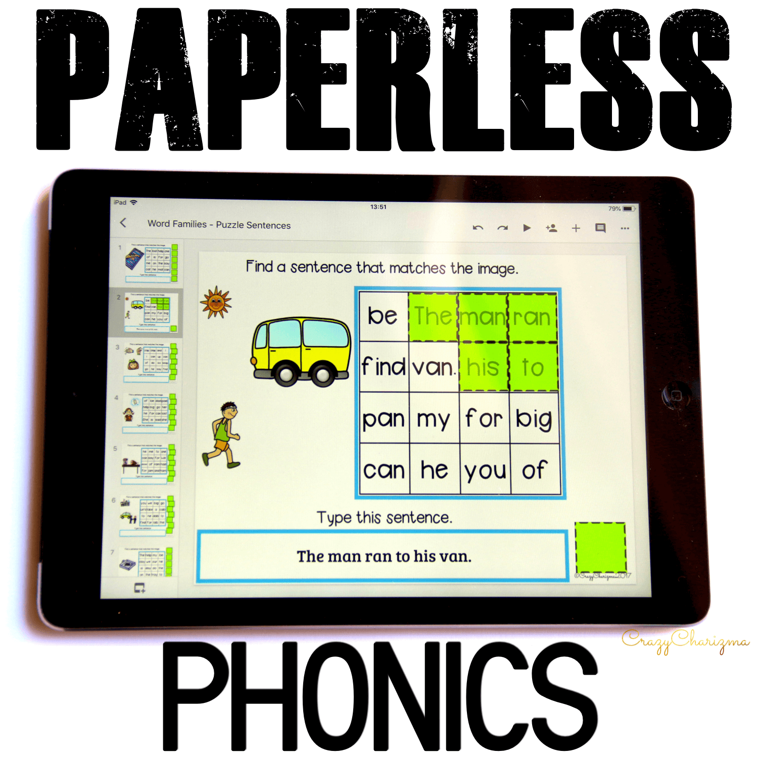Google Classroom Activities for Kindergarten. Phonics Words Games. Get fun phonics practice! Kids will find sentences, build them and use images as visual help. Also, kids will practice typing skills. These activities are perfect for Google Classroom and Google Slides! #CrazyCharizma #GoogleClassroom #GoogleClassroomKindergarten #HandsOnActivitiesForKids #PaperlessClassroomElementary #PhonicsGames