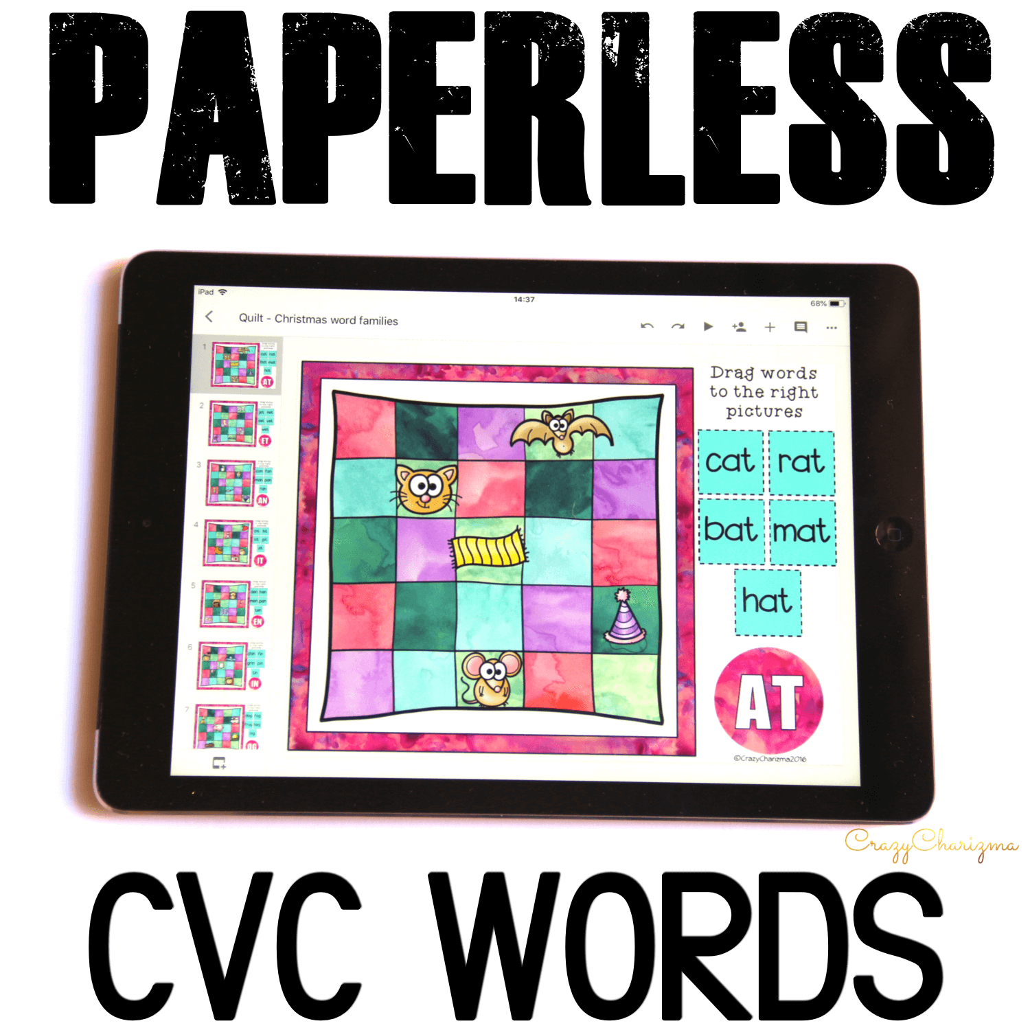 Google Classroom Activities for Kindergarten. CVC Words Games. Want to practice CVC words on Chromebooks or iPads? Google Classroom activities are what you've been looking for! Engage kids with word work. Encourage to practice vocabulary in a fun way! #CrazyCharizma #GoogleClassroom #GoogleClassroomKindergarten #HandsOnActivitiesForKids #PaperlessClassroomElementary #PhonicsGames
