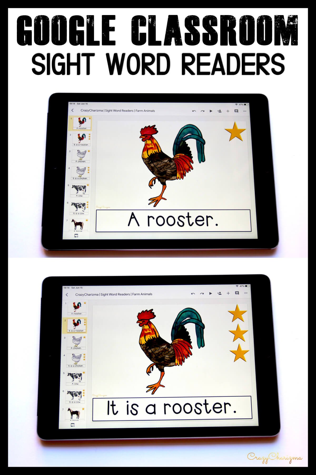 Looking for engaging sight word readers for kindergarten? Engage kids with sight words and farm friends. Use as paperless practice for Google Classroom or print and read!