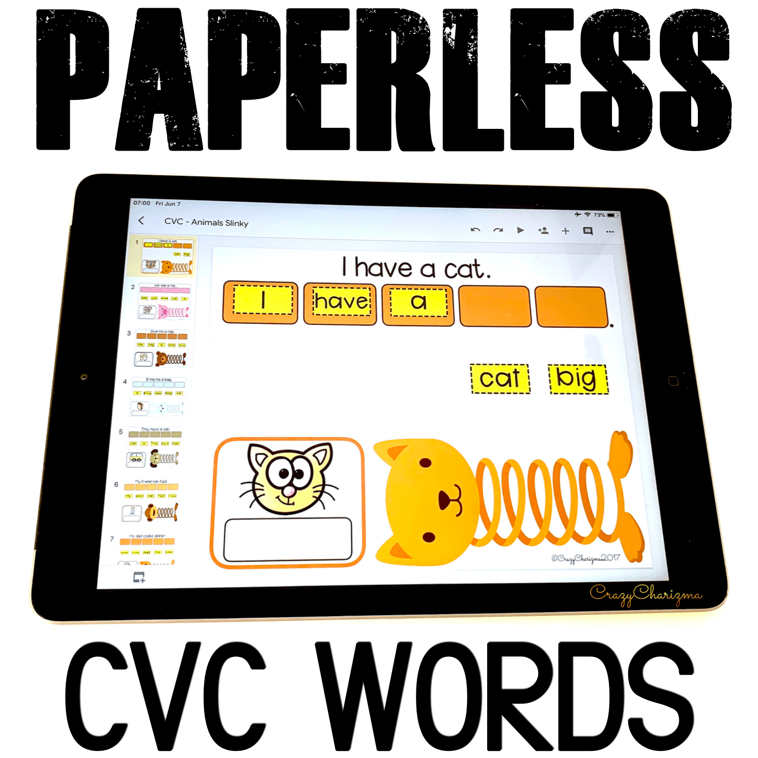 Google Classroom Activities for Kindergarten. CVC Words Games. Need to practice CVC words in sentences? I've got you covered! Try these paperless activities for Google Classroom. Use during your literacy block, daily 5, guided reading, spelling, RTI, and literacy centers. #CrazyCharizma #GoogleClassroom #GoogleClassroomKindergarten #HandsOnActivitiesForKids #PaperlessClassroomElementary #PhonicsGames
