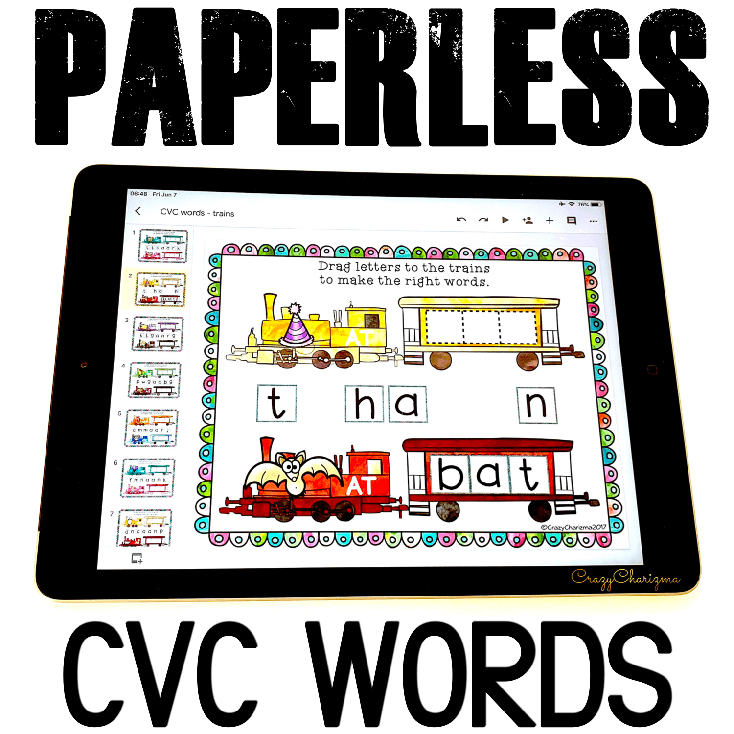 Google Classroom Activities for Kindergarten. CVC Words Games. Grab this digital word work and get kids engaged with fun CVC words practice! Use during guided reading groups, literacy centers, 1:1 work, and for homework.  #CrazyCharizma #GoogleClassroom #GoogleClassroomKindergarten #HandsOnActivitiesForKids #PaperlessClassroomElementary #PhonicsActivities