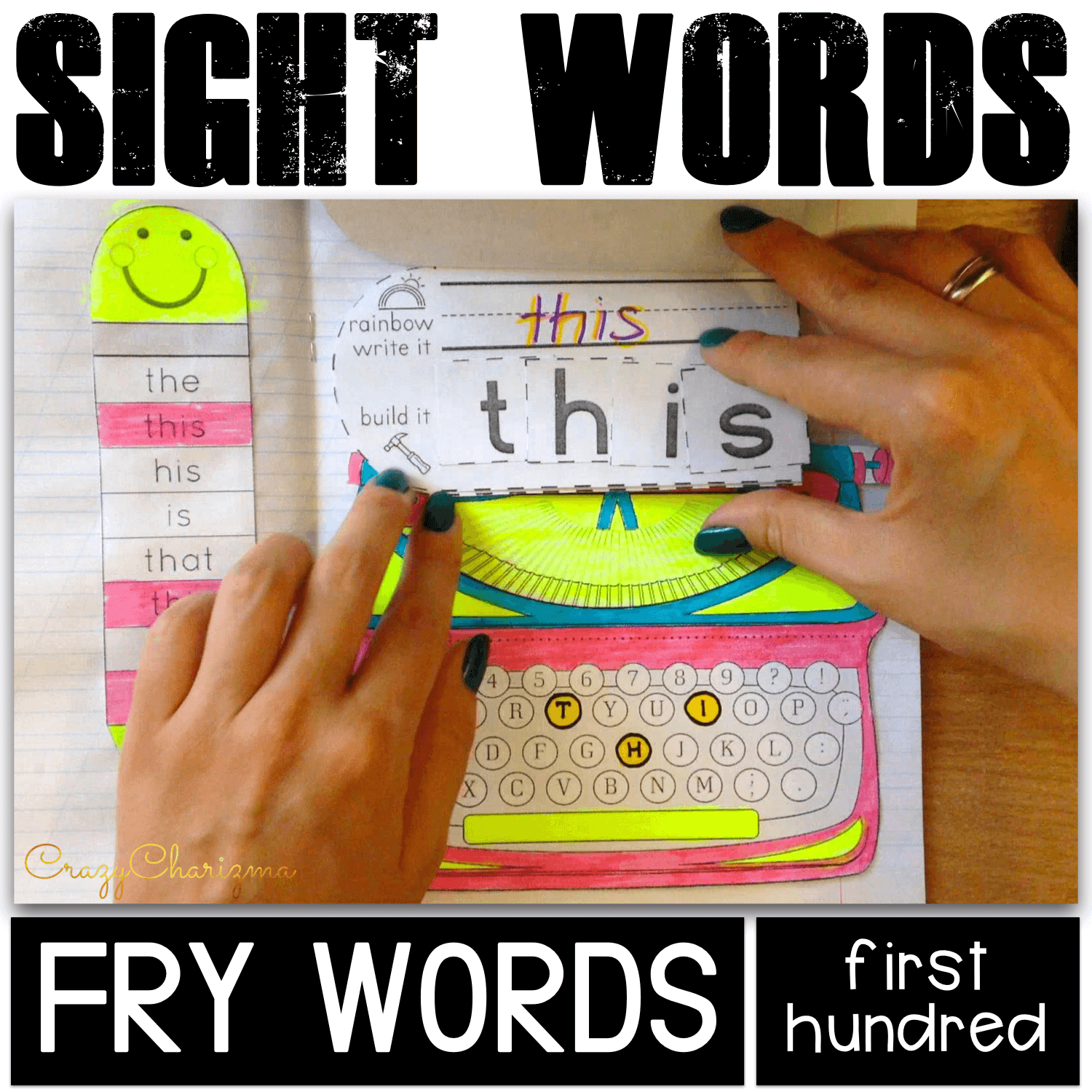 Need hands-on and fun sight words activities? Grab the packet and use as an Interactive Notebook (organize kids' materials like a portfolio show progress throughout the year). More ways to use: as Word Work Activities or No-prep literacy centers. #CrazyCharizma #HandsOnActivitiesForKids #PhonicsActivities
