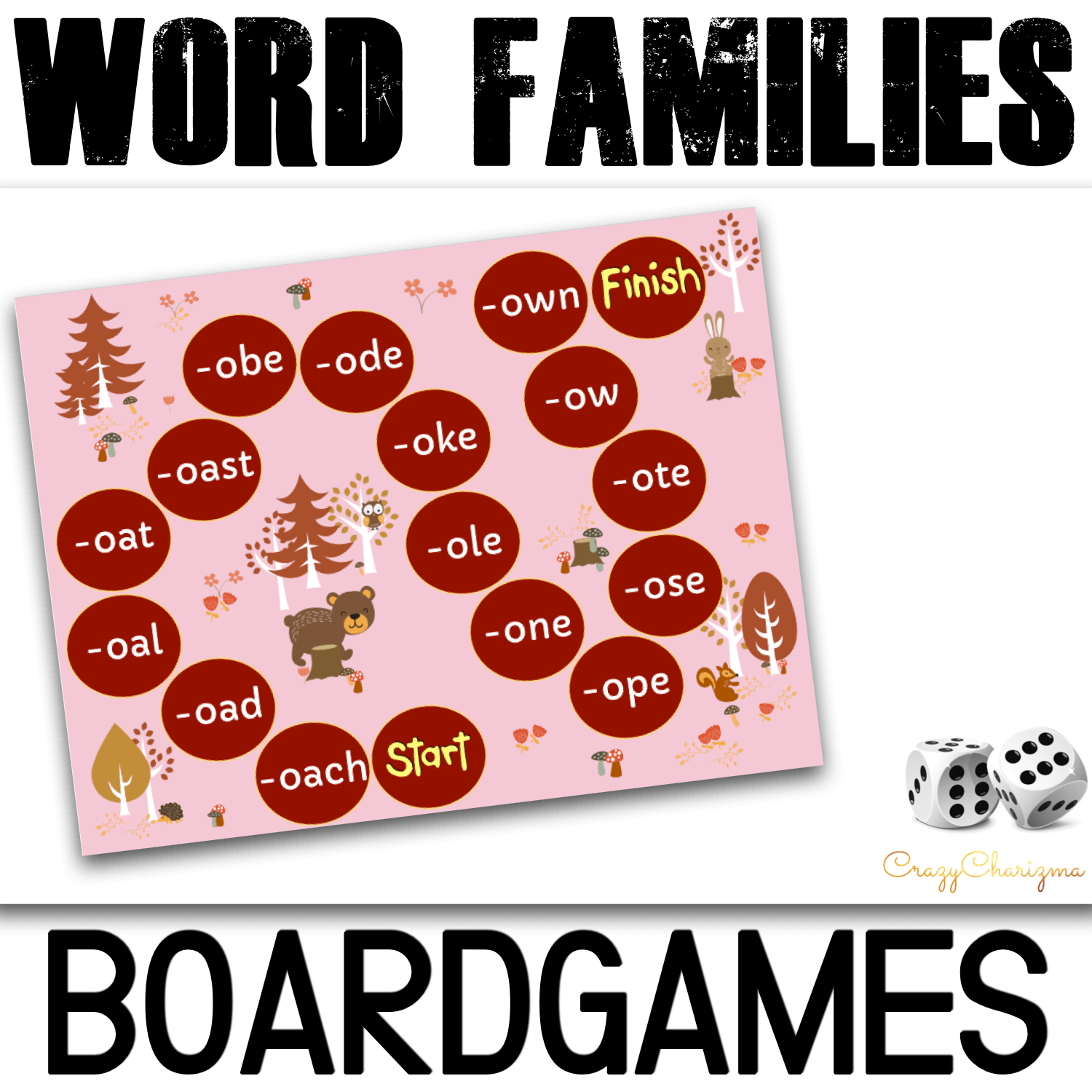 Practice and read phonics with these Fall boardgames. Kids will enjoy reading long A, E, I, O, U words with these word families printables. Use with children in preschool, kindergarten and first grade.