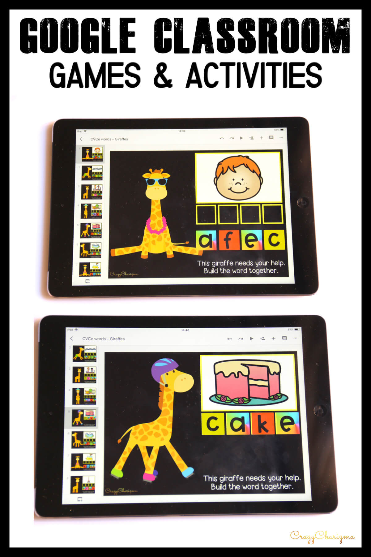 Google Classroom Activities for Kindergarten | CVCe words: Looking for quick activities for CVCe word work? How about giraffes? :) Kids will build the words and have images as visual help!
