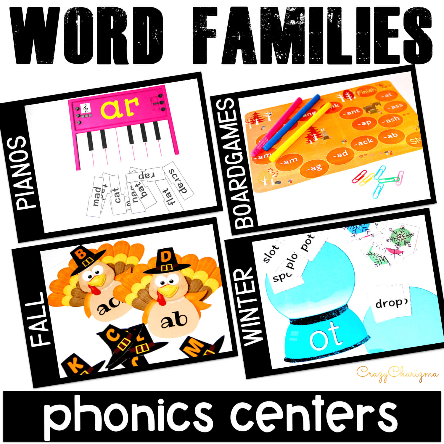 Struggling readers no more! Help students become more comfortable with reading word families words and rhyming. This packet of hands on phonics activities is for kids in preschool, kindergarten, first or second grade. Find inside general printables and seasonal worksheets. Use during daily 5, guided reading, spelling, literacy block, RTI, or during literacy centers.