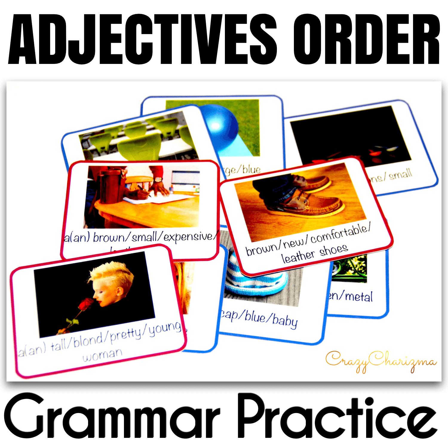 If you need to practice Ordering Adjectives over and over (because I know how challenging the topic is for students), grab this packet which contains 170+ cards!