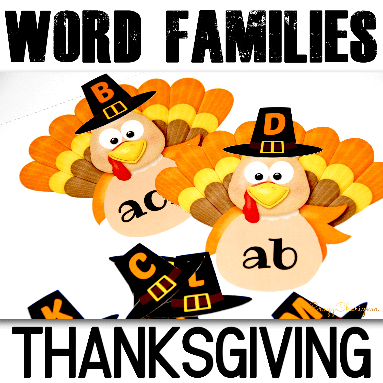 Practice phonics with these Thanksgiving activities - dress up the turkeys! These printables are perfect for kids in preschool, kindergarten, first and second grade.