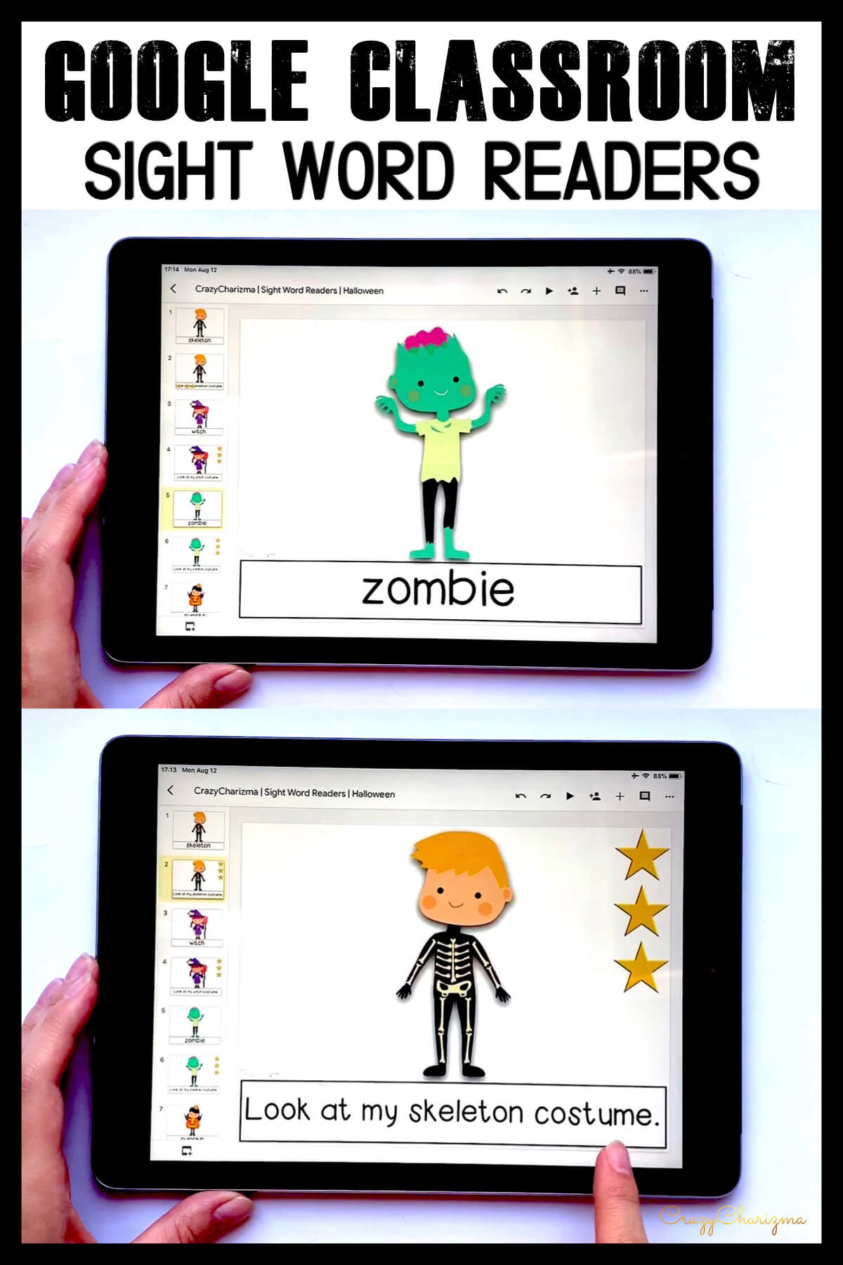 Looking for engaging sight word readers for kindergarten? Engage kids with reading sight words sentences during Halloween. Use as paperless practice for Google Classroom or print and read!