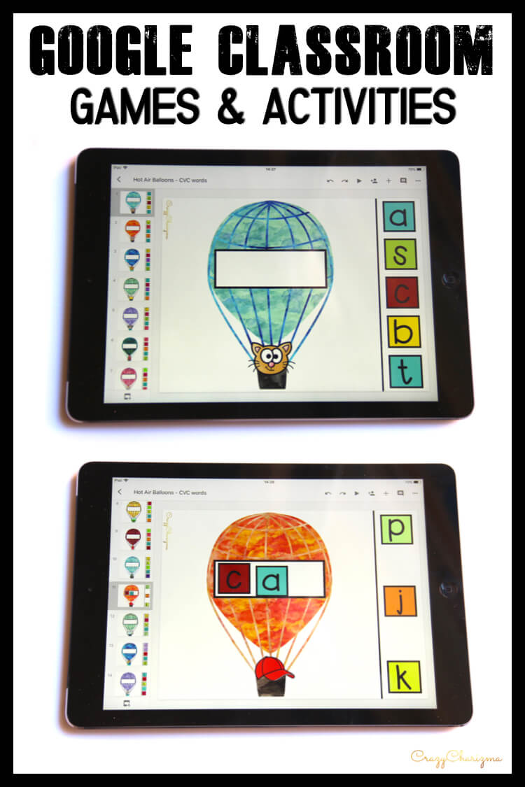 Google Classroom Activities for Kindergarten | CVC words: Need easy to use CVC word work? Grab paperless activities for Google Classroom™. Kids will love reading phonics with these hot air balloons!