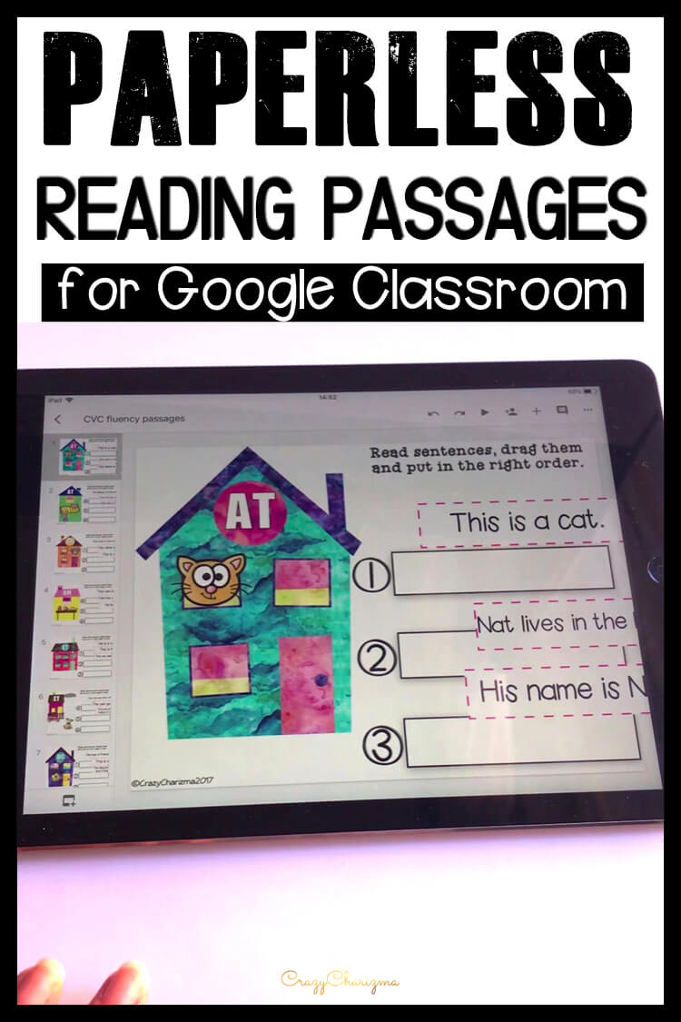 Google Classroom Activities for Kindergarten | Fluency passages: Need to practice CVC words in reading fluency passages? Grab these easy to use texts (drag and drop feature). The images will help kids put sentences in the right order.