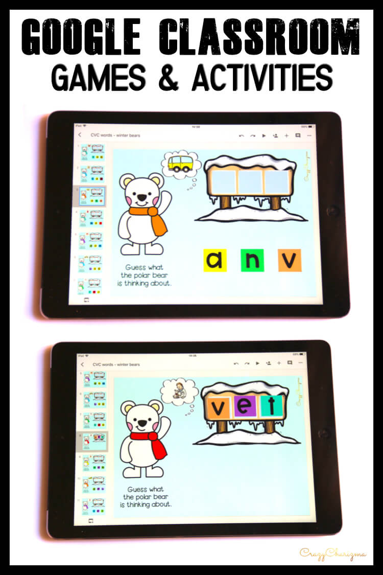 Google Classroom Activities for Kindergarten | CVC words: Looking for engaging winter CVC word work? Try these seasonal activities for Google Classroom™. Kids will love to help polar bears to read!