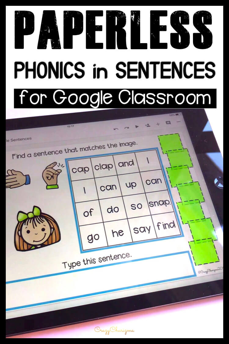 Google Classroom Activities for Kindergarten | Phonics Words Games: Get fun phonics practice! Kids will find sentences, build them and use images as visual help. Also, kids will practice typing skills. These activities are perfect for Google Classroom and Google Slides!